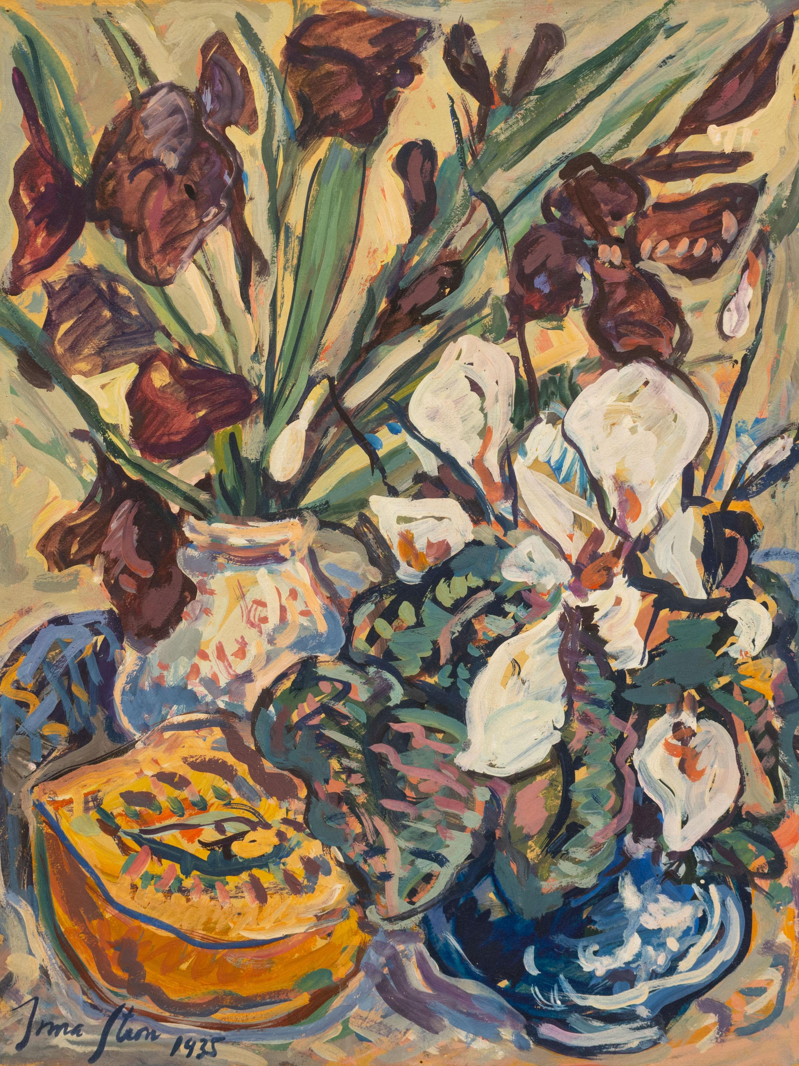 """Irma Stern (SA 1894 - 1966) Gouache & Tempera, """"Still Life with Gladiolii, Irises & Paw-Paw"""", Signed & Dated 1935, 45 x 35"""