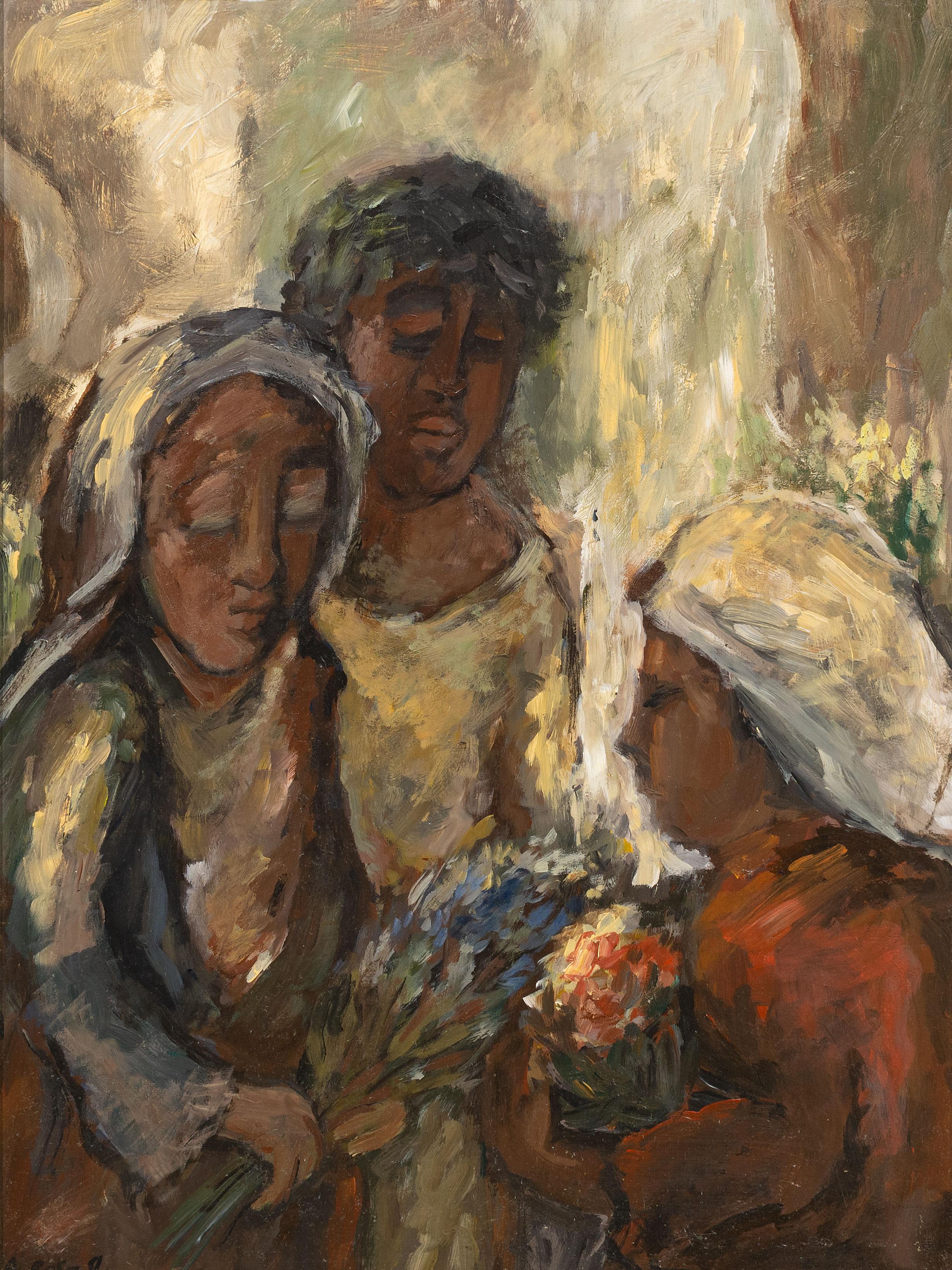"Alexander Rose-Innes (SA 1915 - 1996) Oil, ""Cape Flower Sellers"", Signed Titled Verso, 60 x 44"