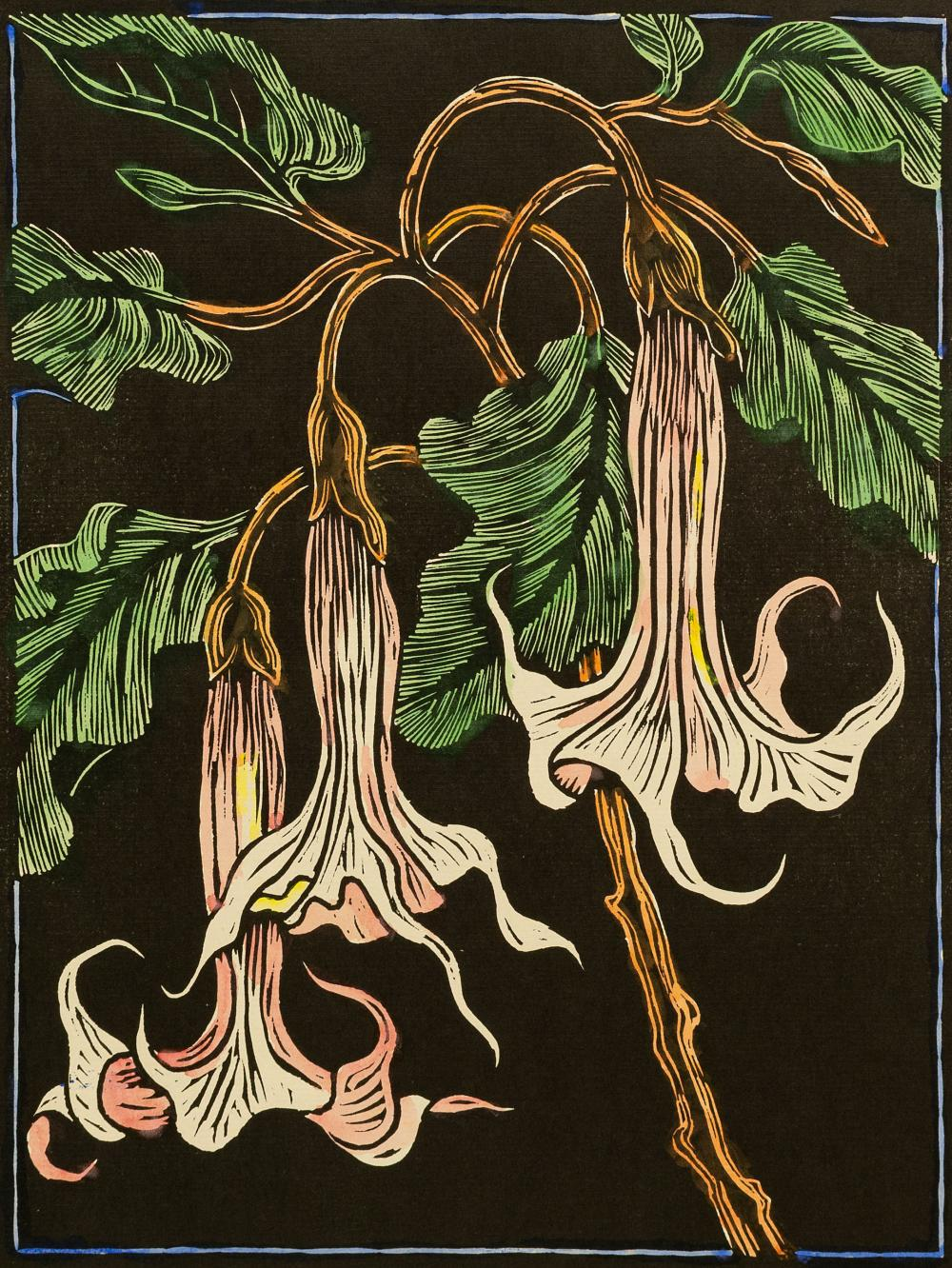 Gregoire Boonzaier (SA 1909 - 2005) Coloured Linocut, Moonflowers, Signed & Dated 1978 in Pencil, 41 x 31 sheet size unframed