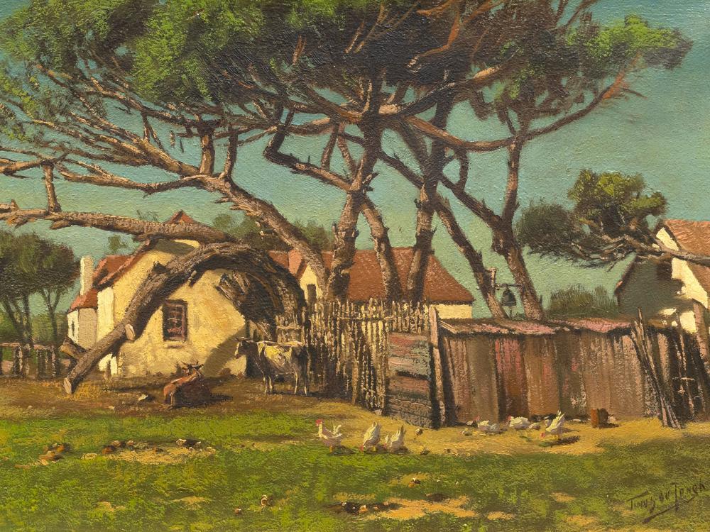 Tinus de Jongh (SA 1885 - 1942) Oil, Farm Cottages, Signed, 32 x 47