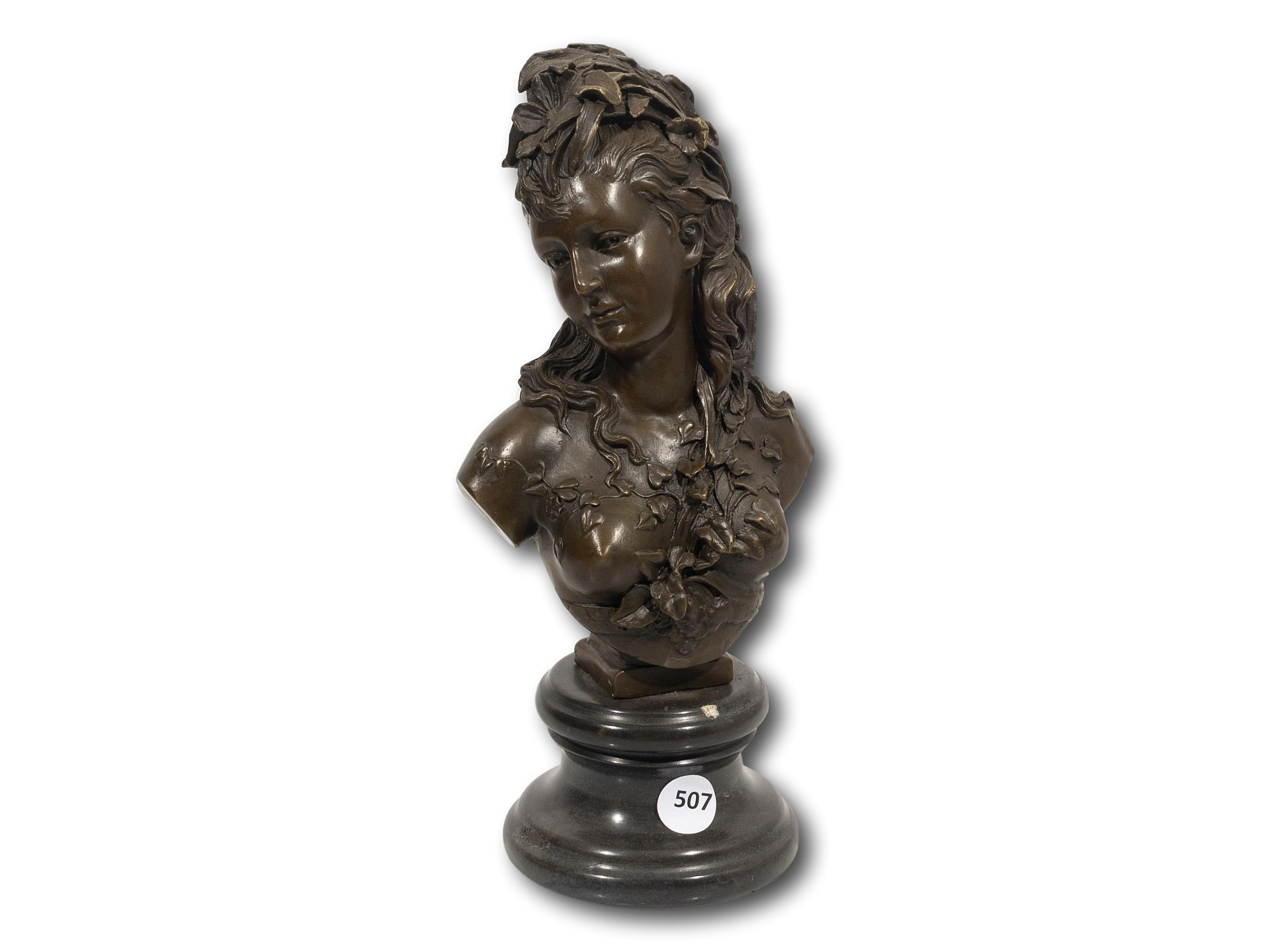 After Albert Ernest Carrier-Belleuse (French 1824 - 1887) Bronze, Bust of a Classical Female Figure, Signed, 26cm including base
