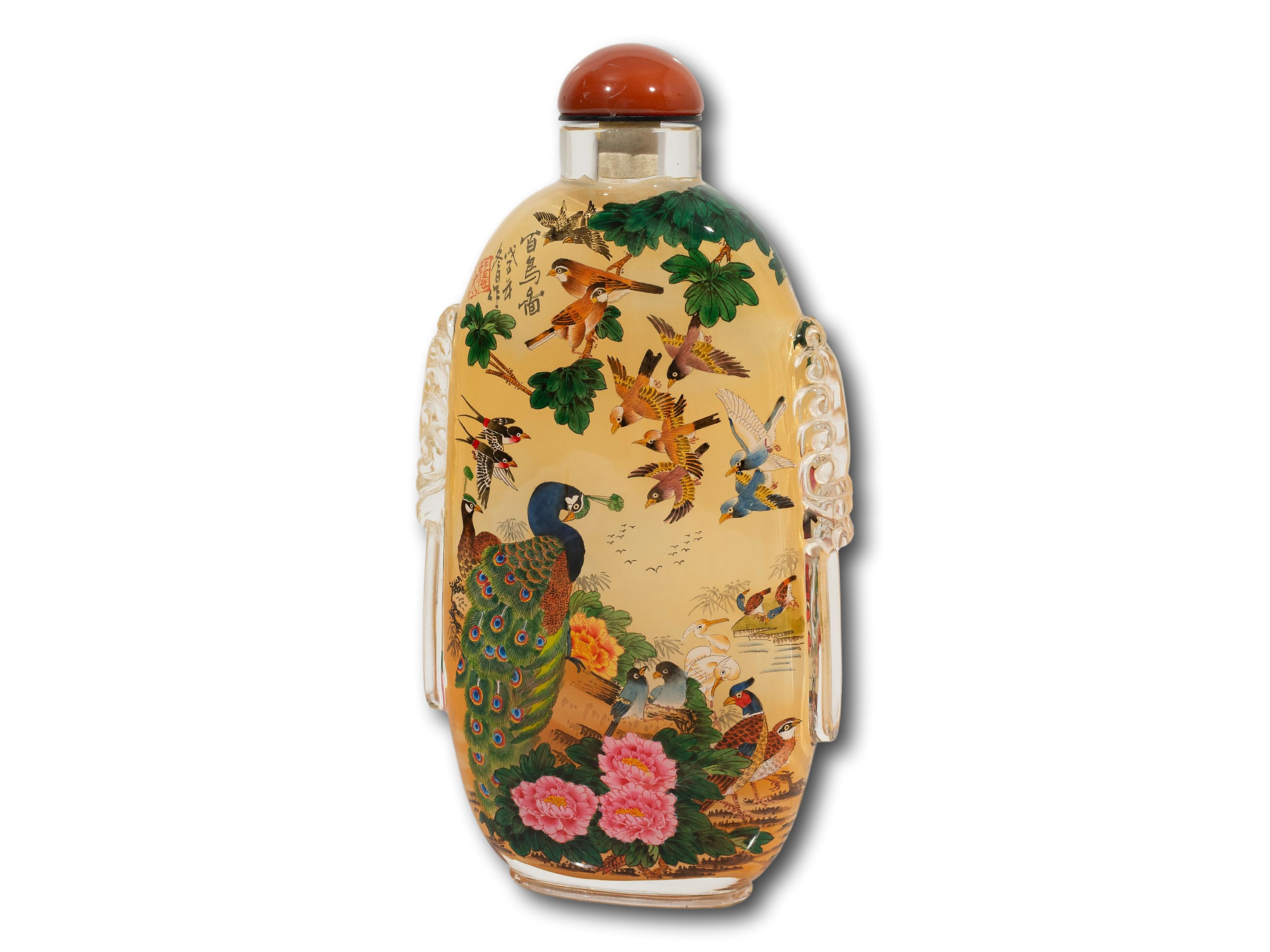 A Chinese Inside-Painted Glass Snuff Bottle, 20cm