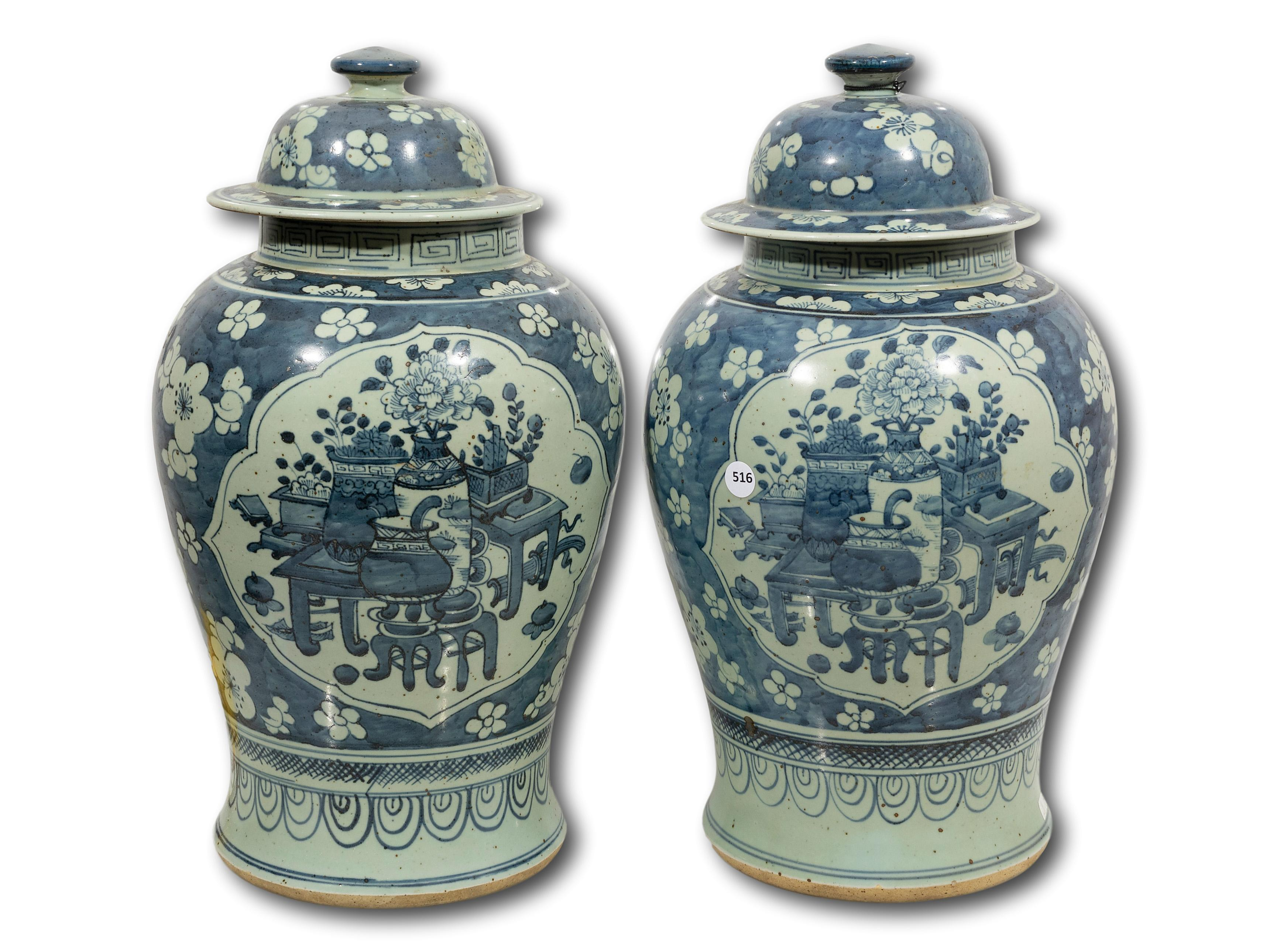 A Pair of Chinese Lidded Ginger Jars, 47cm each