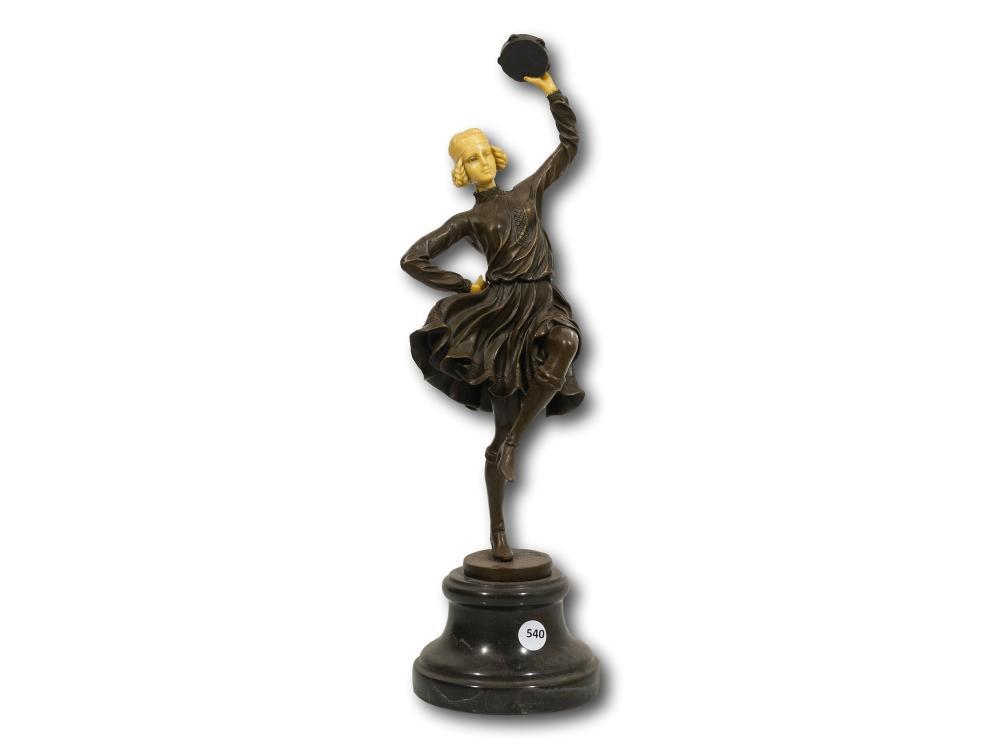 Nick (European 20th C) Bronze & Ivorine, An Art Deco Dancer with a Tambourine, Signed, 44cm including base
