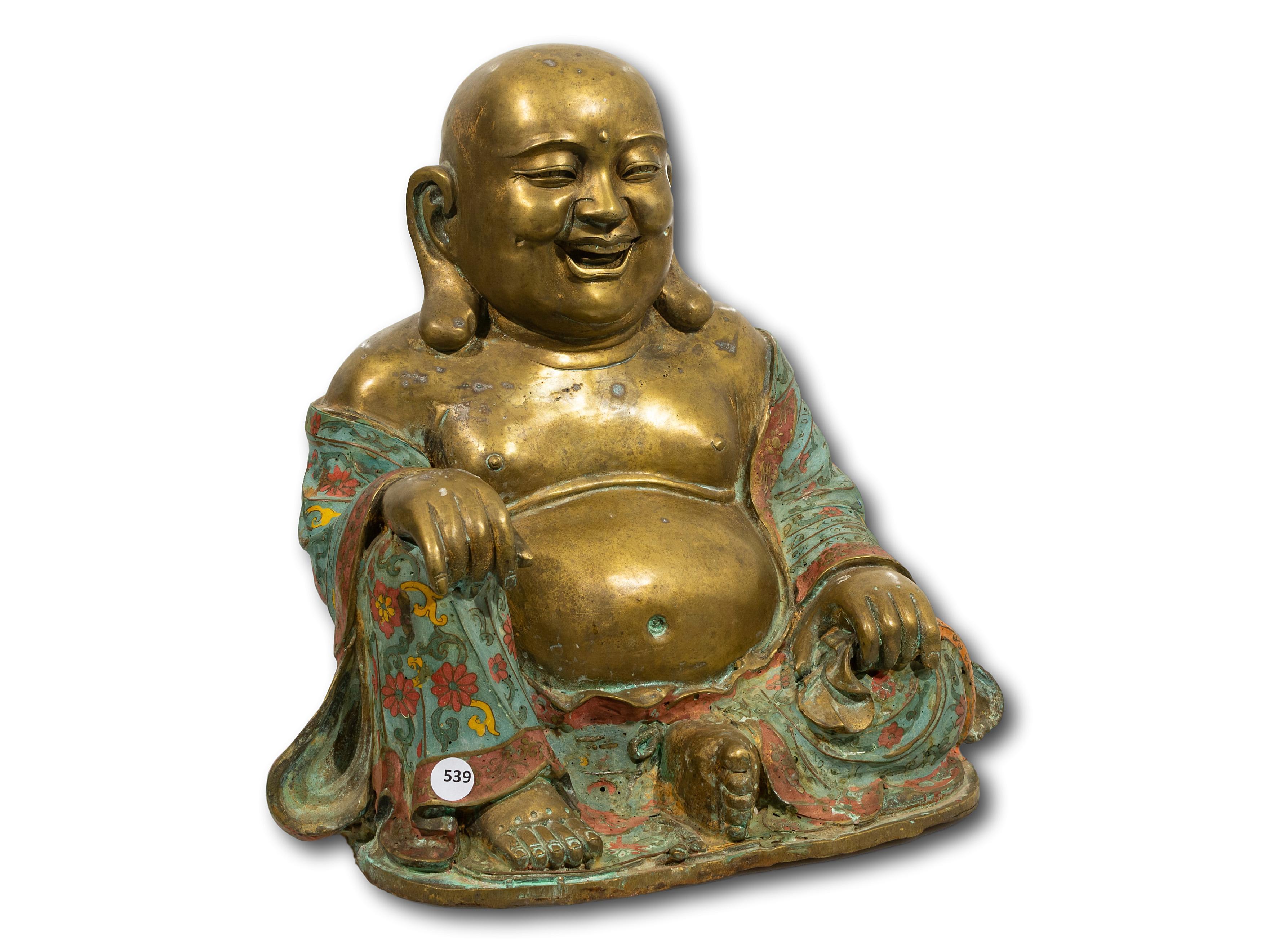 A Brass Chinese Laughing Buddha, 37cm