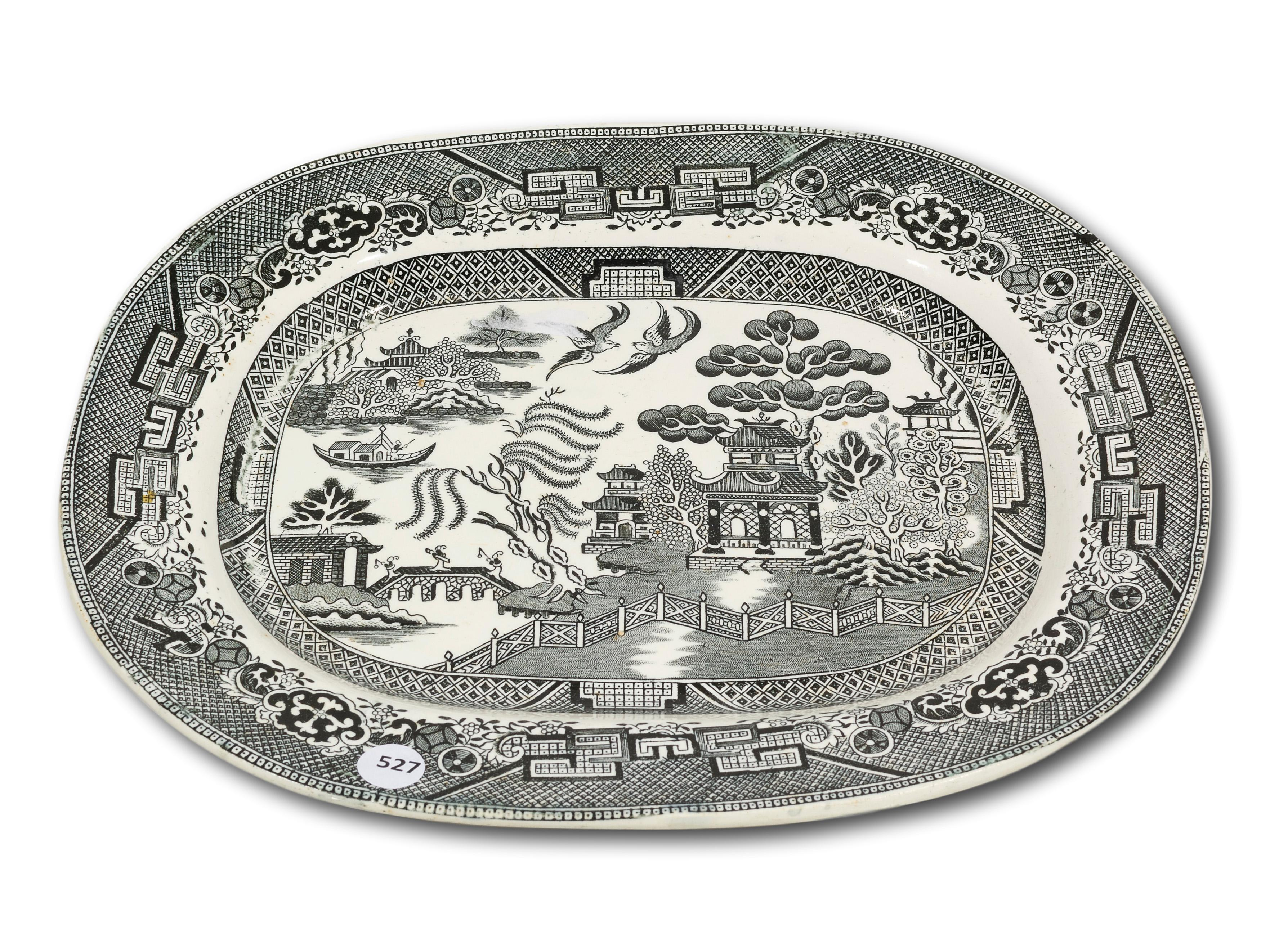 A Willow Pattern Longton Barker Bros. Oblong Serving Dish,