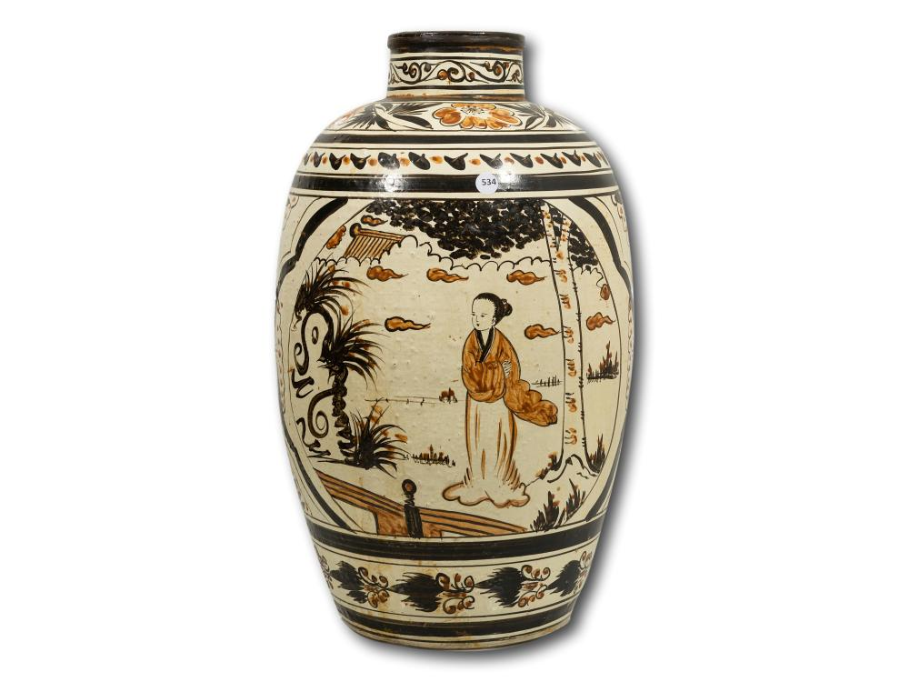 A Chinese Hand Painted Vase, 56cm