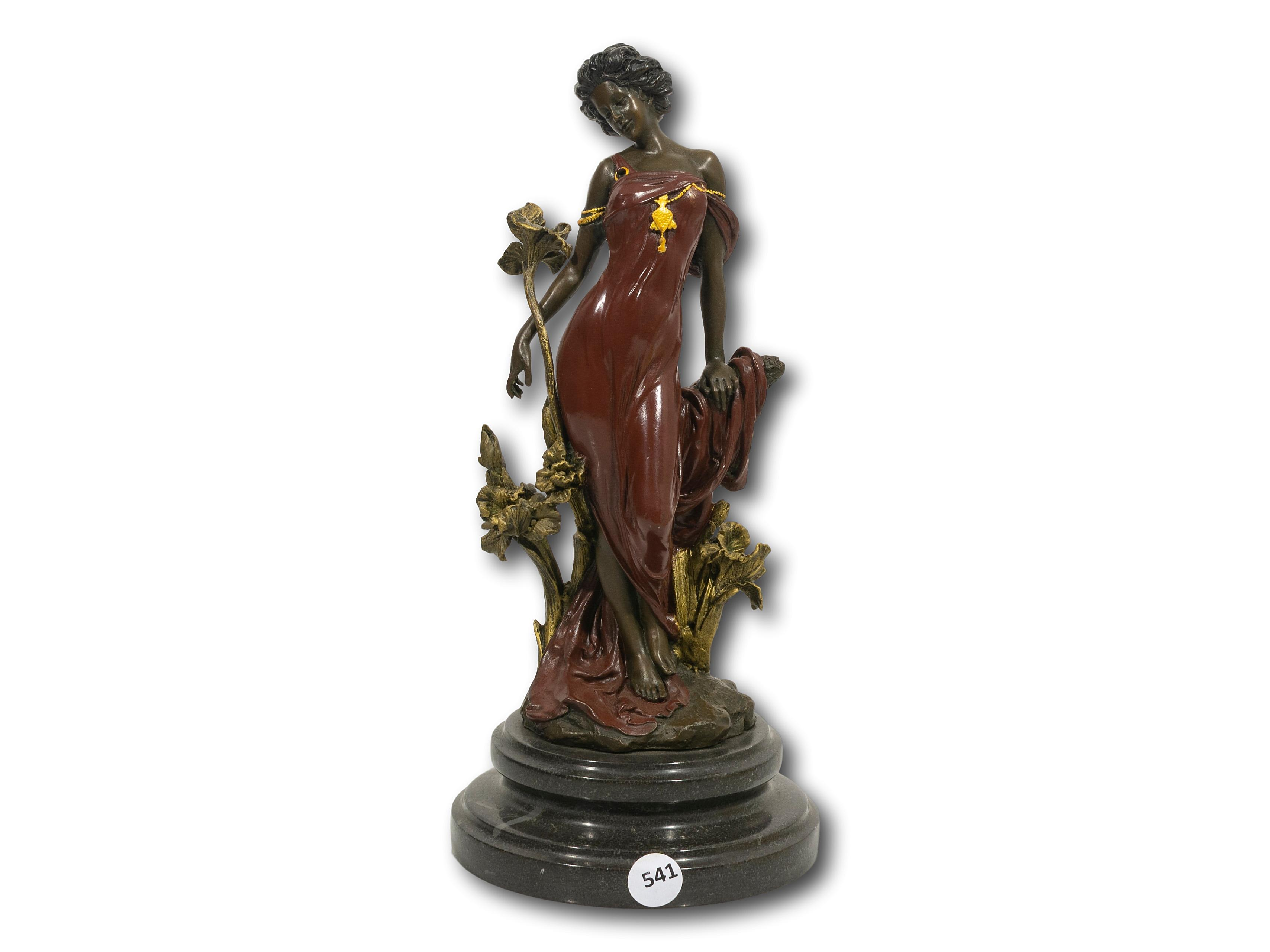 A Bronze of a Classical Female Figurine, Signed 'Nick', 31cm including base