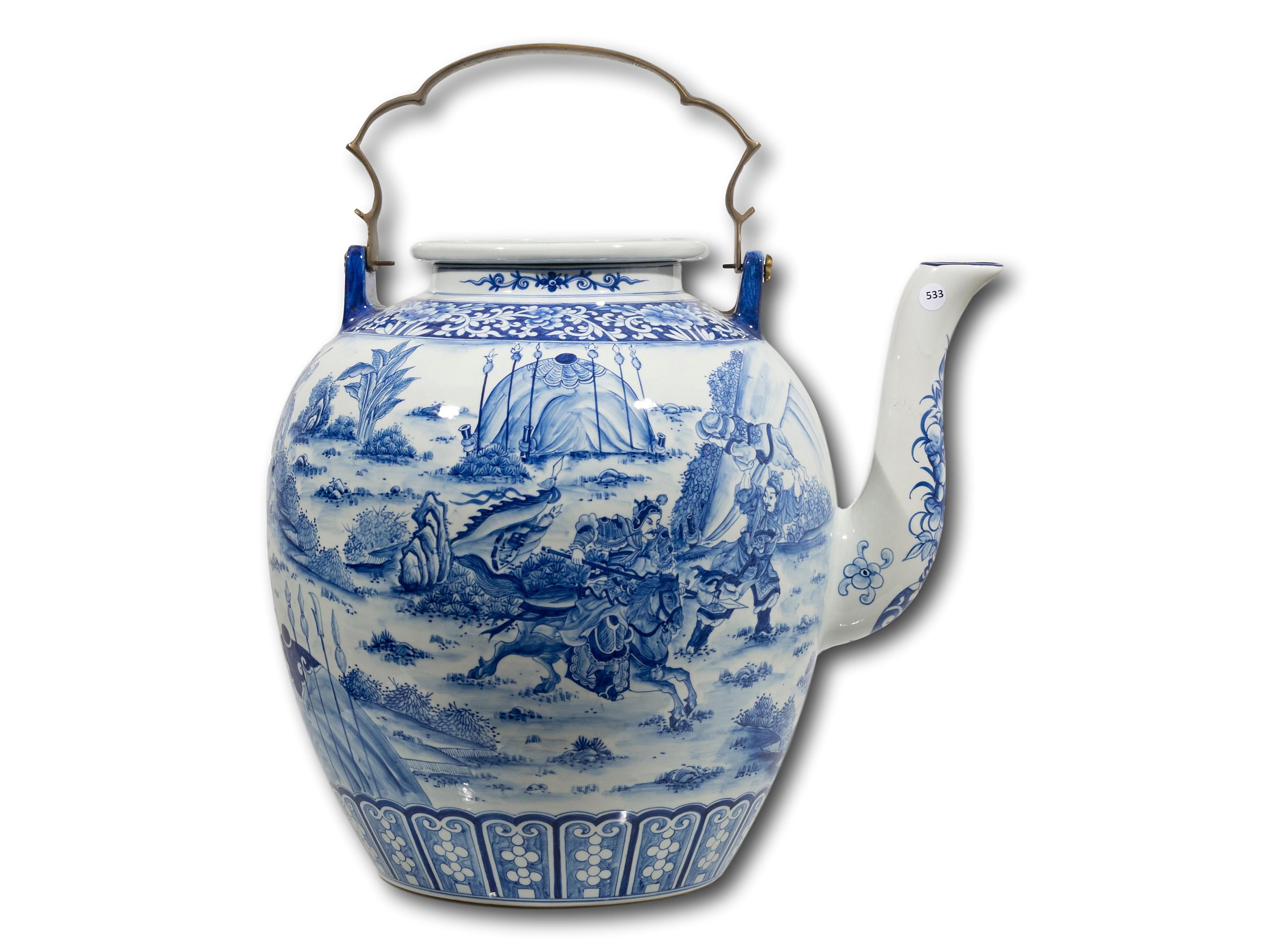 A Chinese Ornamental Ceramic Teapot with Brass Handle, 61cm