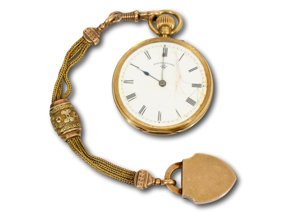 An 18kt Gold Fob Watch by Rotherams of London on a 14kt Chain, total weight 46.2g