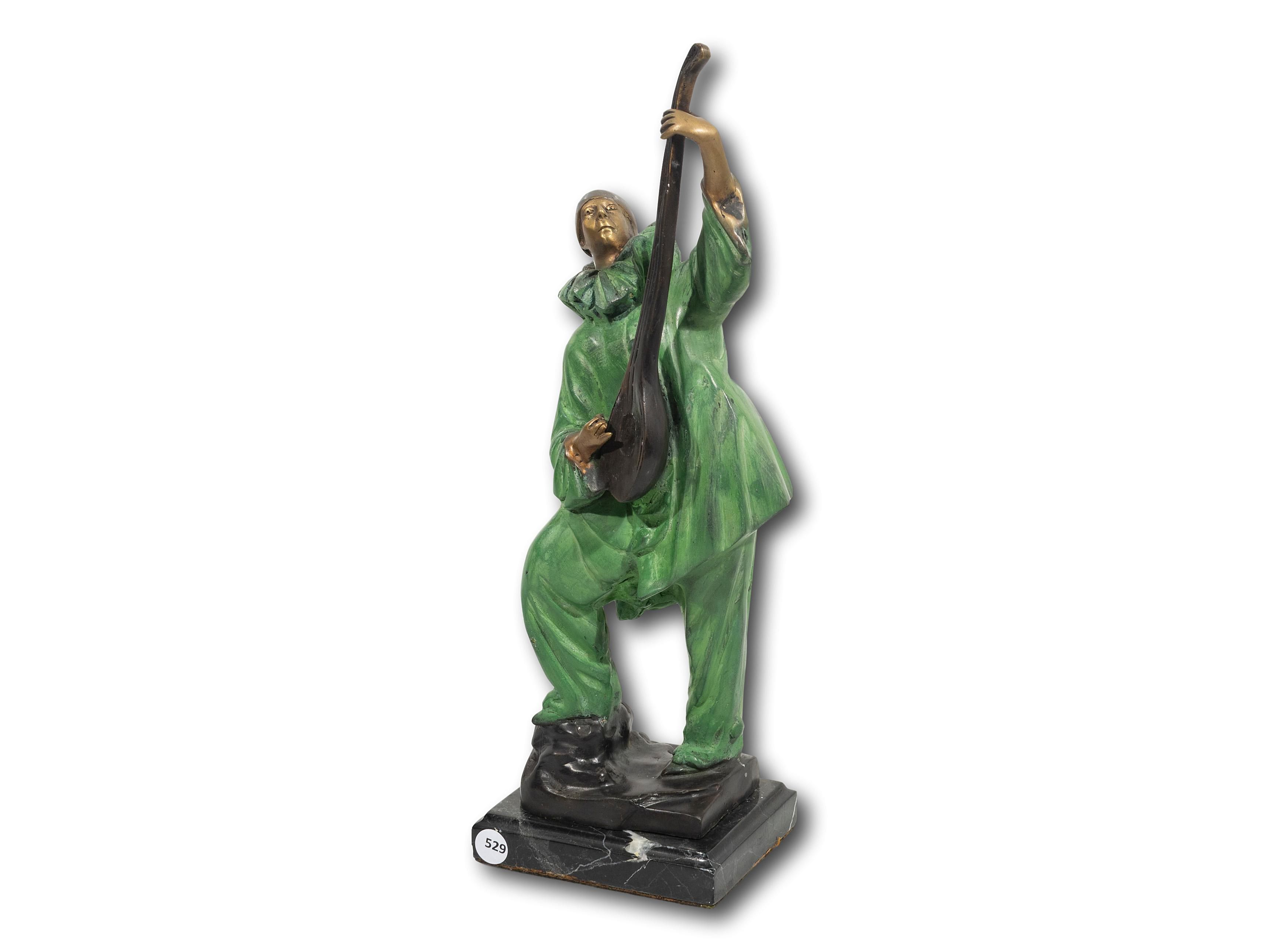 A Bronze of a Clown Playing a Mandolin, 44cm including base