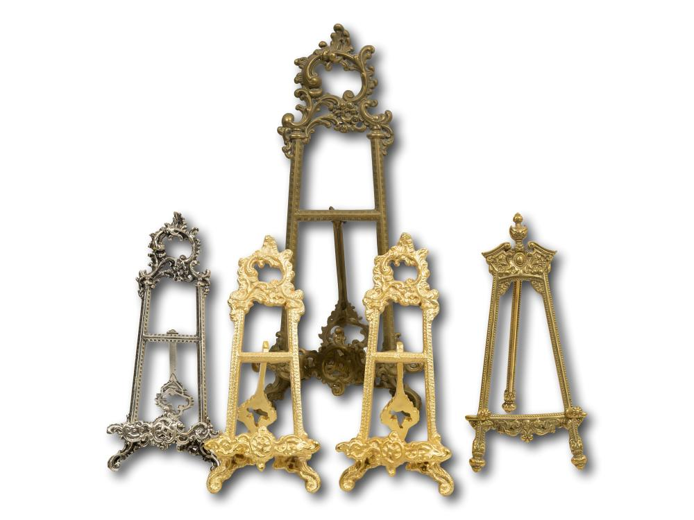 A Collection of 5 Brass Table Easels