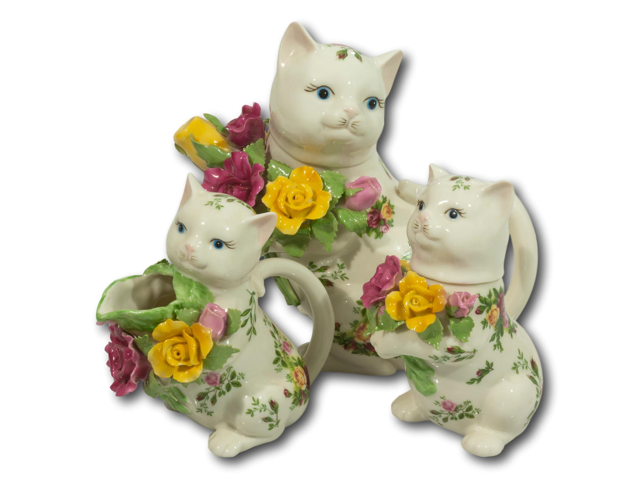 A Collection of 3 Royal Albert Porcelain Cats