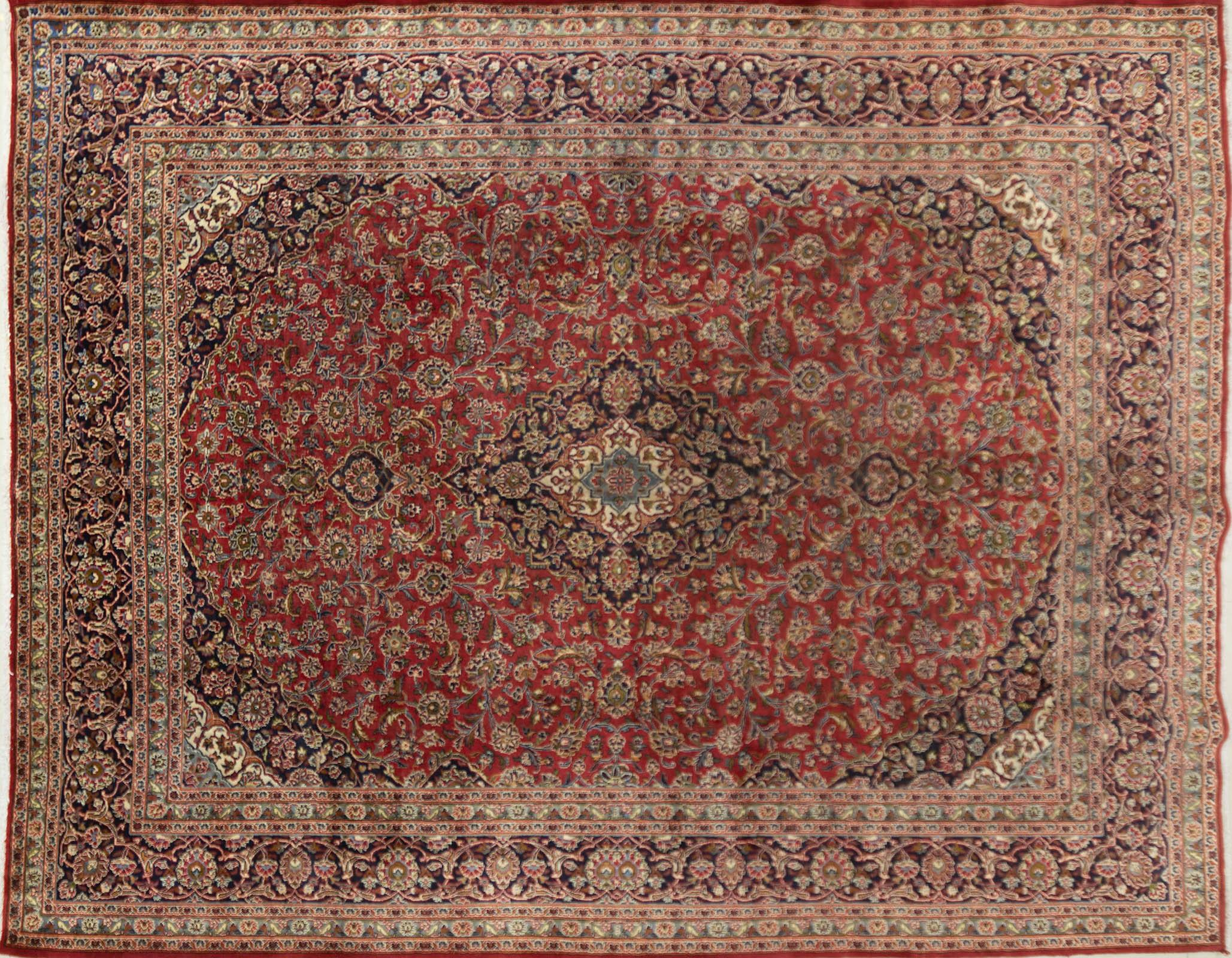 A Persian Hand Knotted Mashad Carpet, 377 x 295