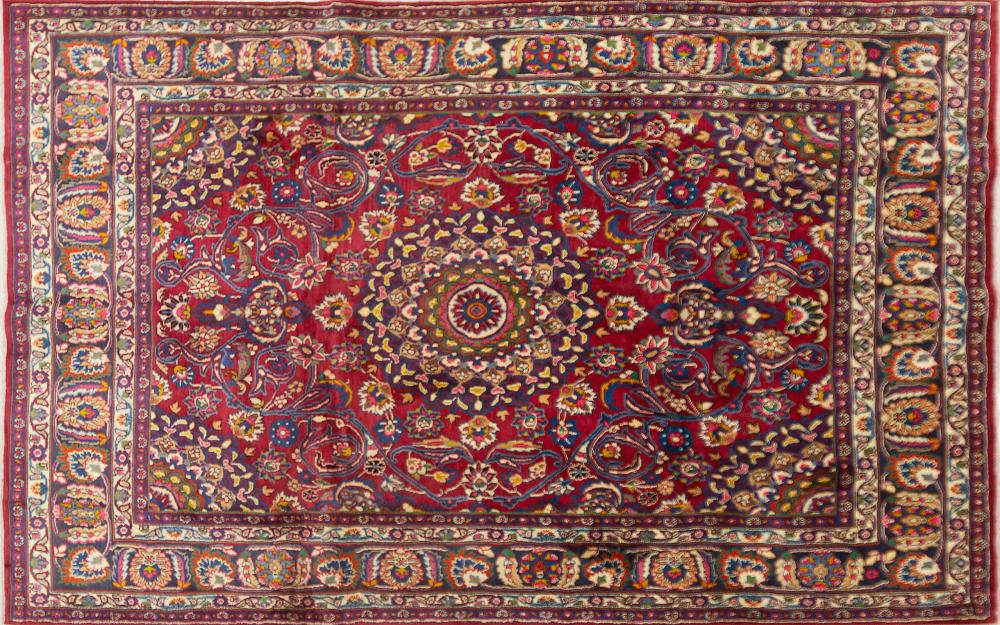 A Persian Hand Knotted Mashad Carpet, 296 x 190