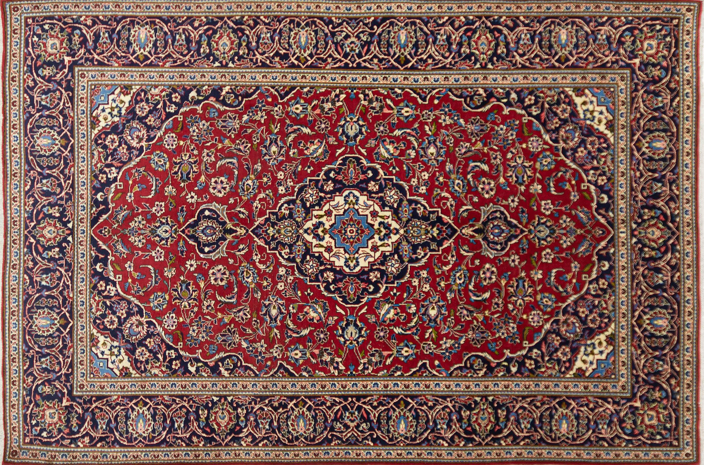 A Persian Hand Knotted Kashan Carpet, 358 x 239