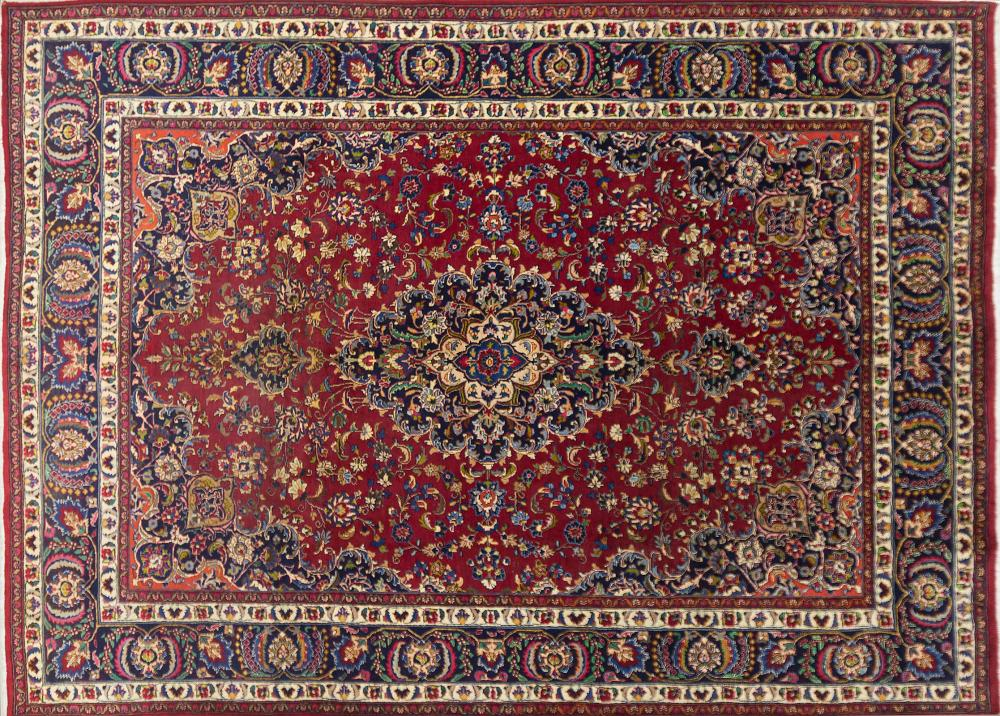 A Persian Hand Knotted Mashad Carpet, 355 x 252