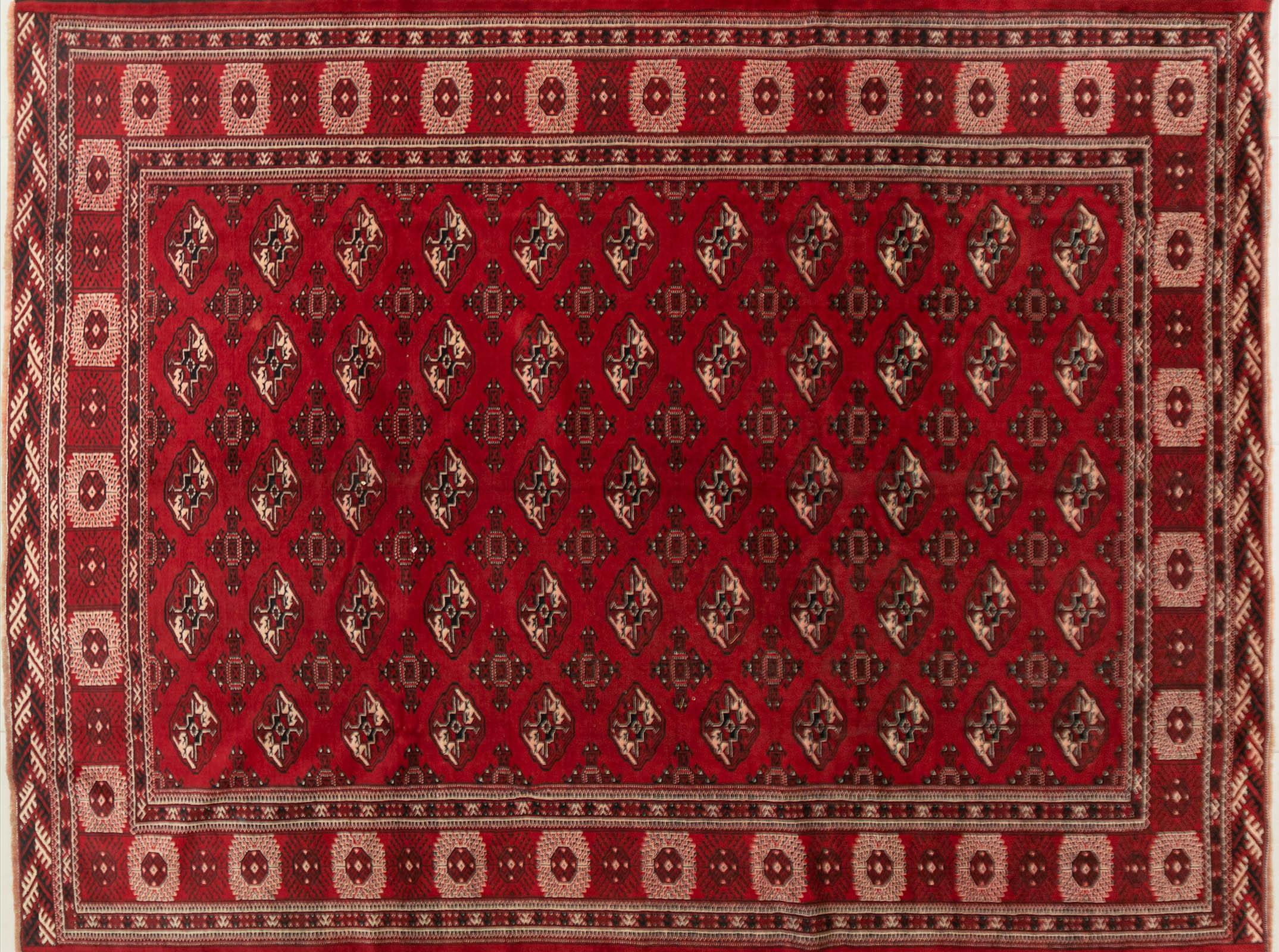 A Persian Hand Knotted Turkaman Carpet, 342 x 252