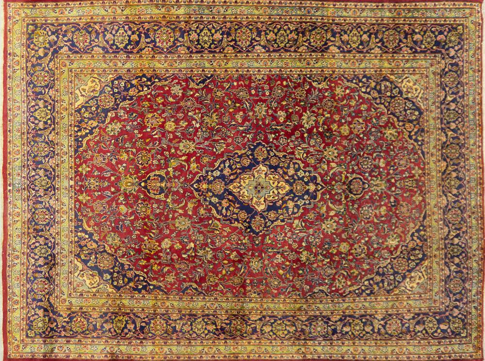 A Persian Hand Knotted Mashad Carpet, 384 x 290
