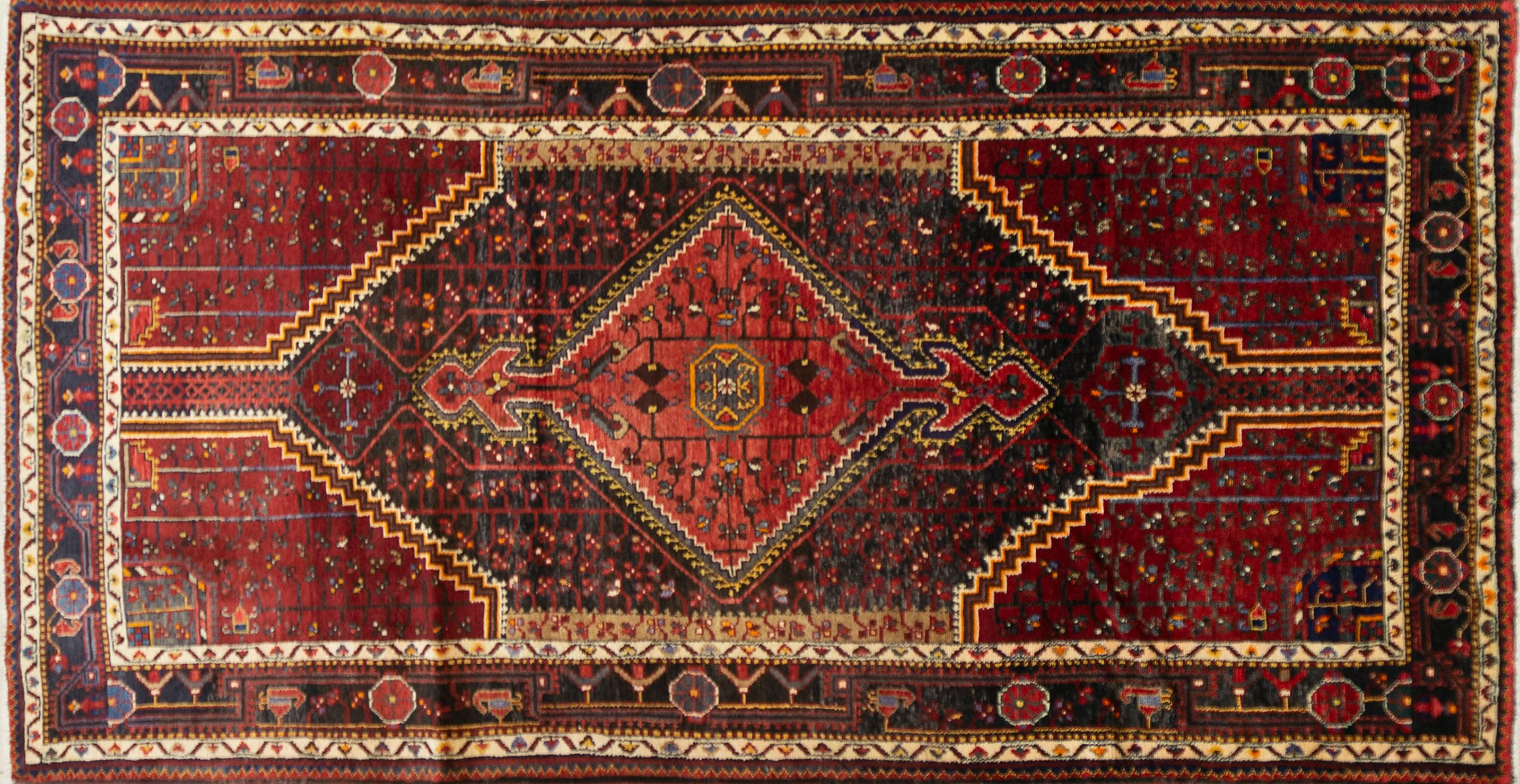 A Persian Hand Knotted Afshar Rug, 275 x 141