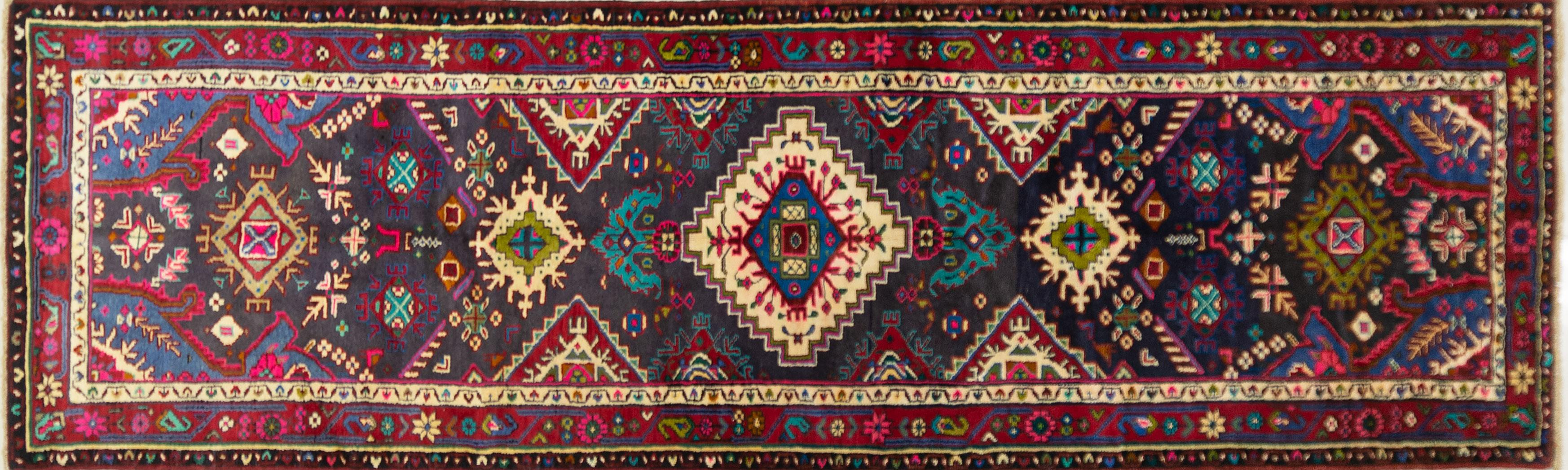 A Persian Hand Knotted Hamadan Runner, 330 x 100