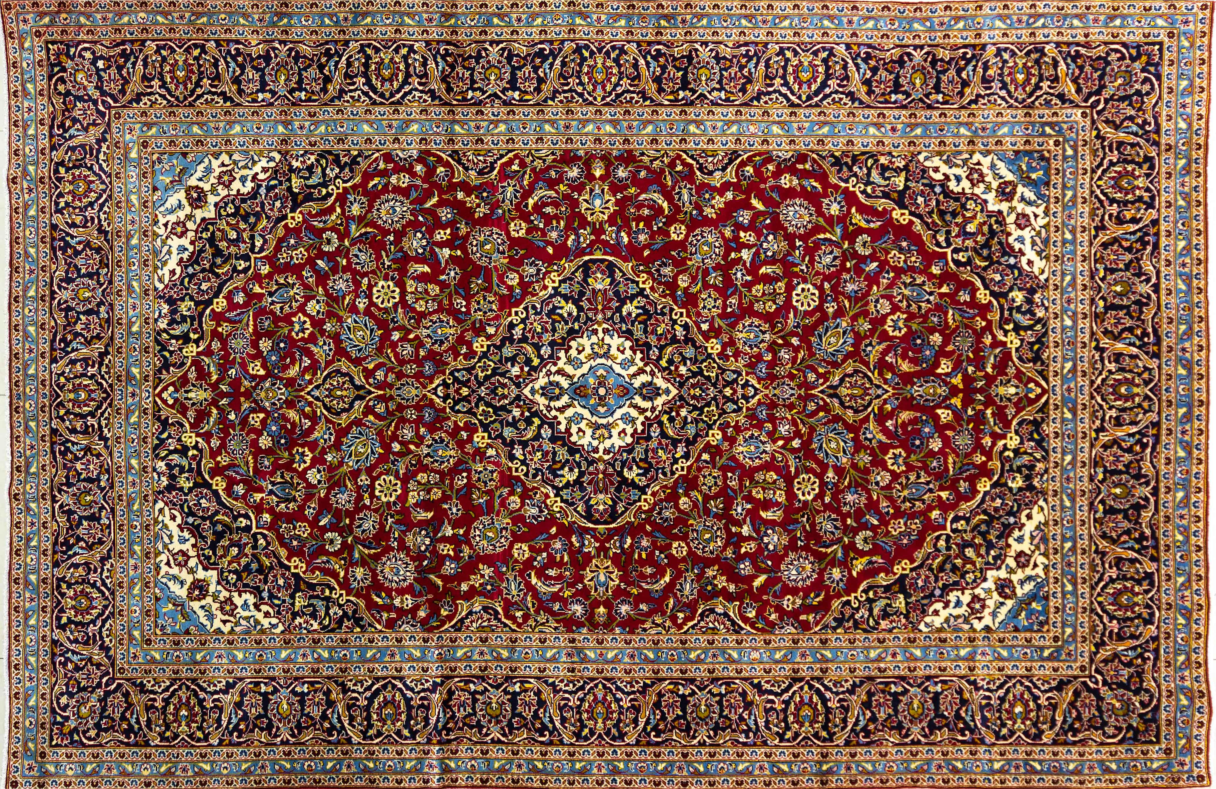 A Persian Hand Knotted Kashan Carpet, 365 X 240