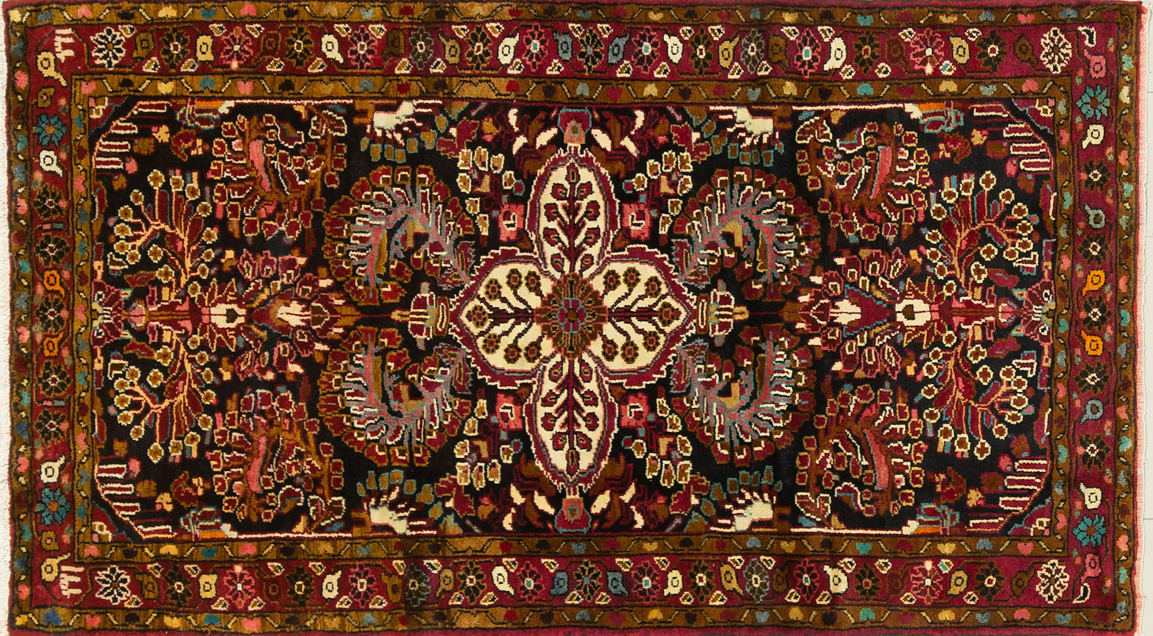 A Persian Hand Knotted Bakhtiari Rug, 215 x 120
