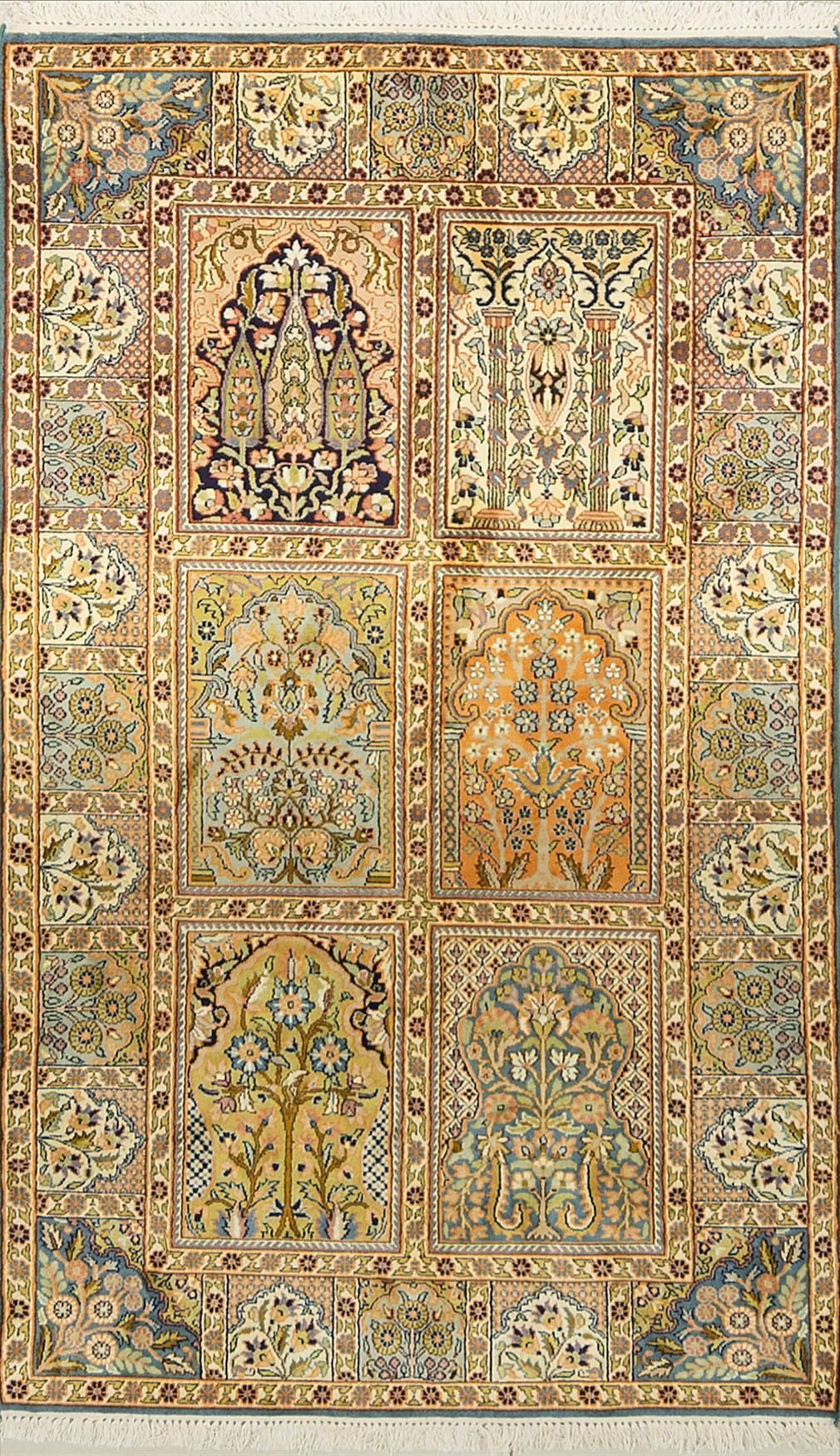 A Hand Knotted Silk Keshmiri Rug, 151 x 91