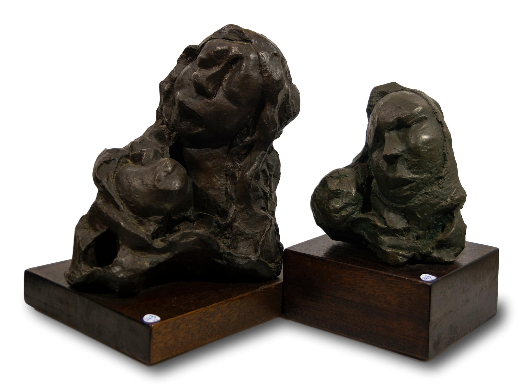 Ben Macala (SA 1938 - 1997) 2 x Bronzes, Mothers & Childrens, One Signed, 40cm & 32cm including bases