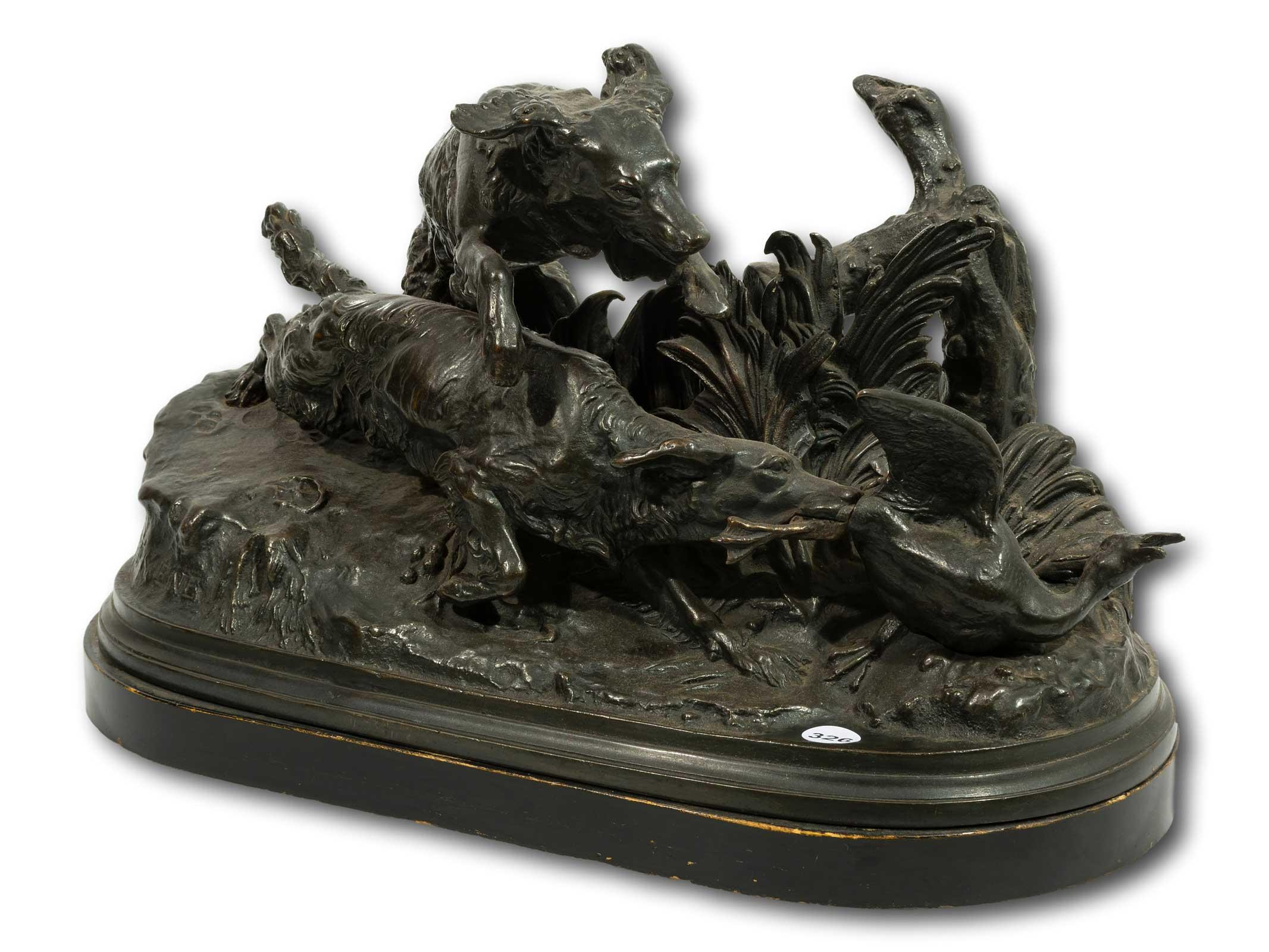 Pierre Jules Mene (French 1810 - 1879) Bronze, 2 Dogs Chasing a Duck, Signed, 27 x 45cm including base