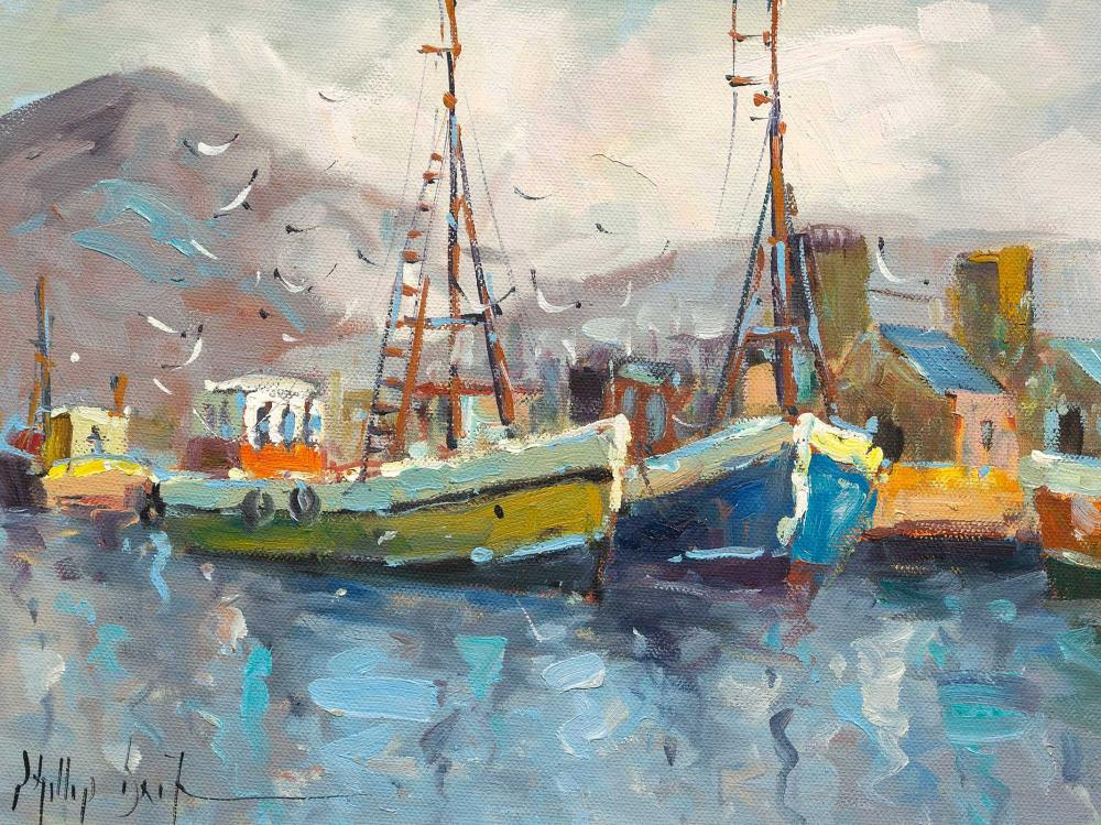 Phillip Britz (SA, born 1966) 2 x Oils, Harbour Scenes, Signed, 24 x 34 each