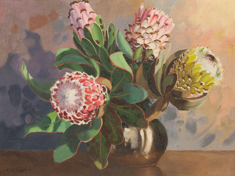 Dino Paravano (SA, born 1935) Oil, Still Life Proteas, Signed, 45 x 60