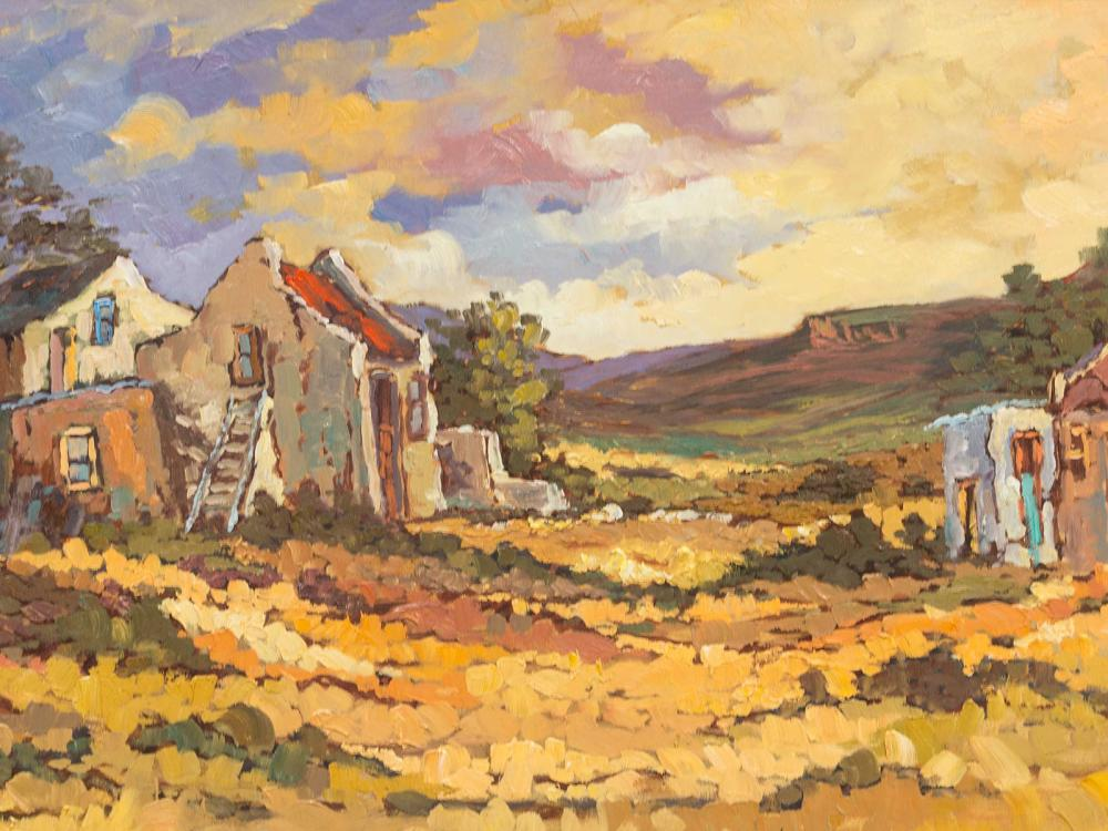 Nadia Kleyn (SA 20th C) Oil, Farm Worker's Cottages, Signed & Dated '15, 36 x 70