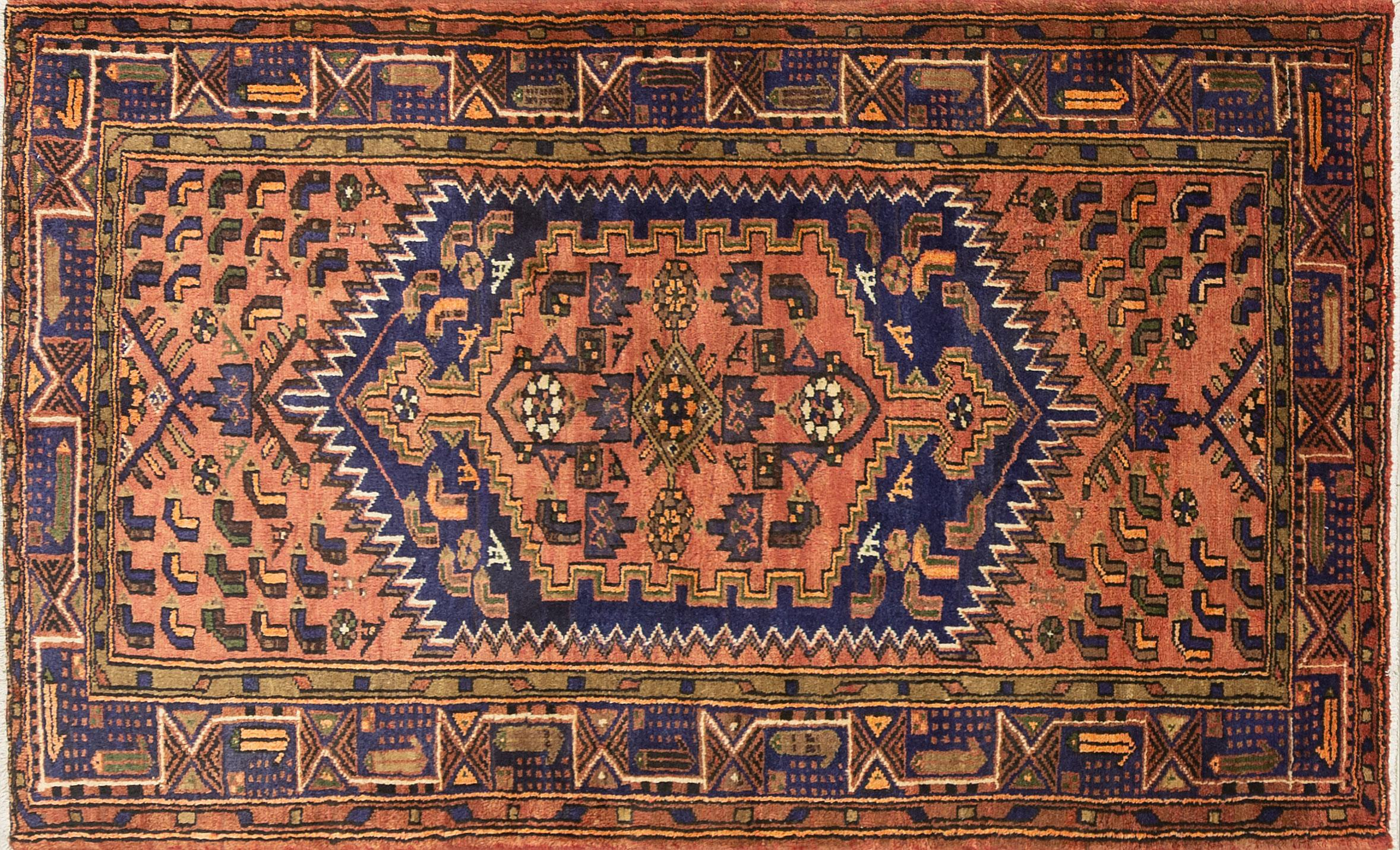 A Persian Hand Knotted Hamadan Rug, 220 x 135