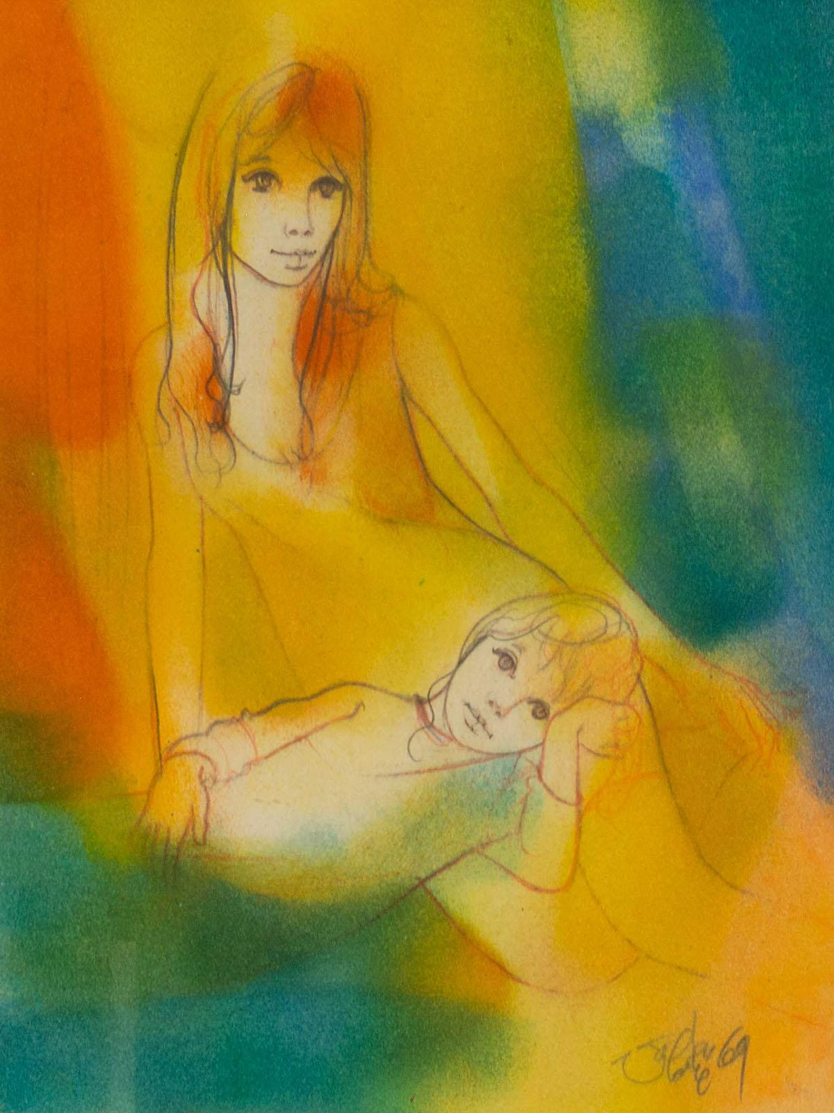 Jean Baptiste (Johnny) Valadie (French, born 1933) Mixed Media, Mother & Child, Signed, 30 x 24
