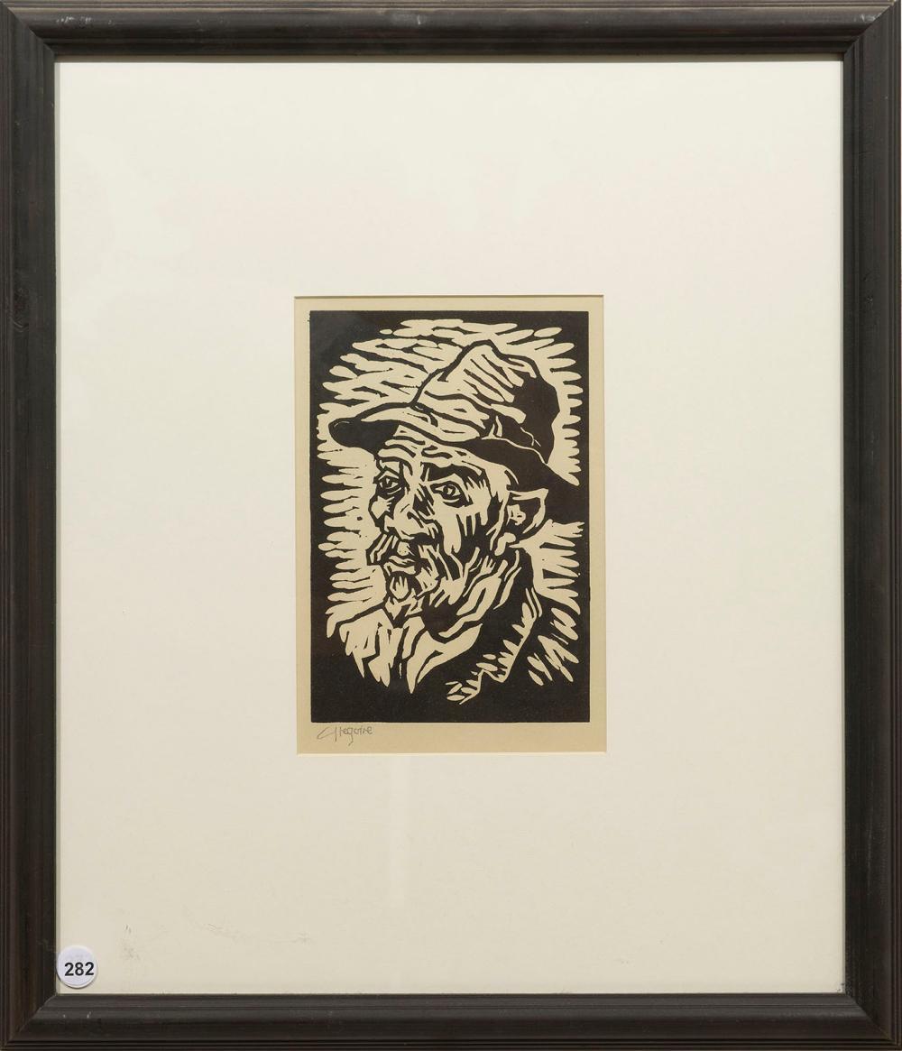 Gregoire Boonzaier (SA 1909 - 2005) Linocut, Portrait of a Man, Signed in Pencil, 23 x 15