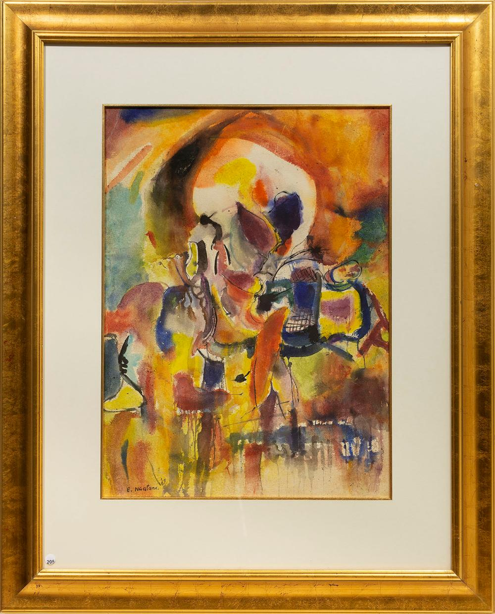 Ephraim Ngatane (SA 1938 - 1971) Mixed Media, Abstract, Signed & Dated '69, 74 x 55