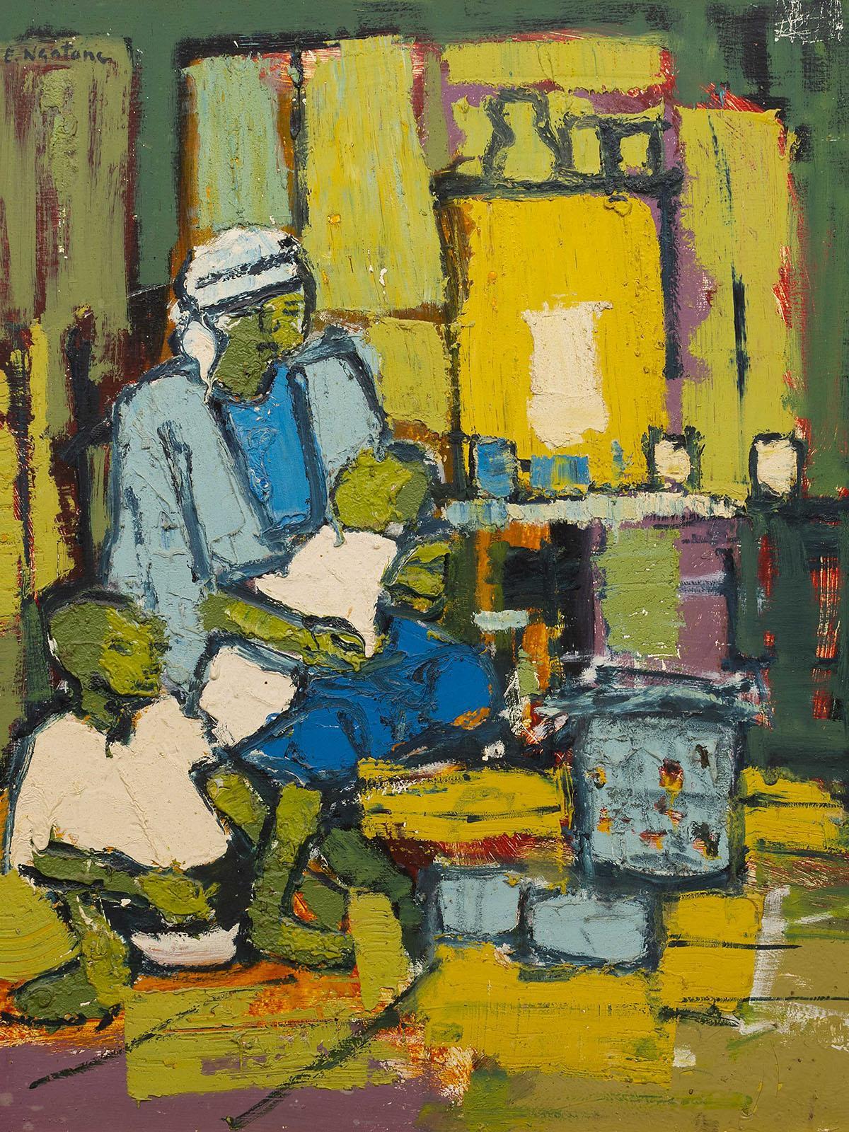 Ephraim Ngatane (SA 1938 - 1971) Textured Oil, Mother & Children, Signed, 75 x 58