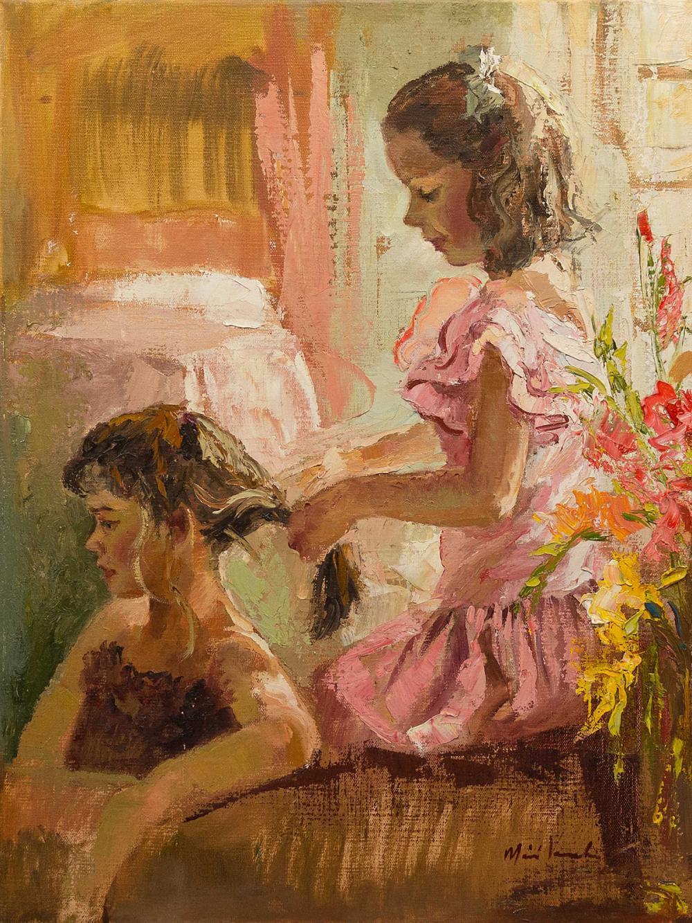 Marie Vermeulen Breedt (SA, born 1954) Oil, Brushing Hair, Signed, 60 x 45