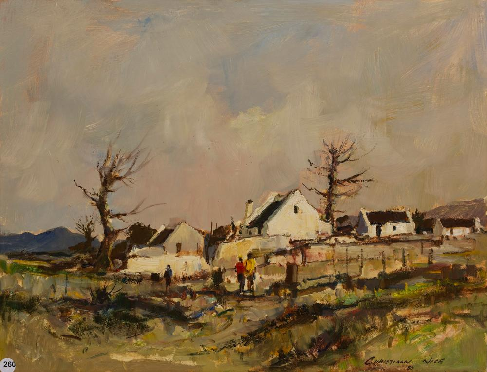 Christiaan Nice (SA, born 1945) Oil, Worker's Cottages, Signed & Dated '80, 45 x 60 unframed
