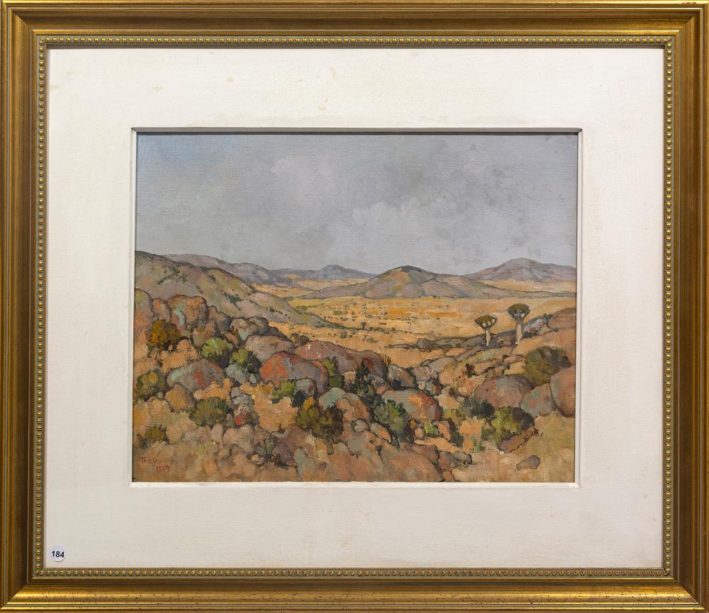 "Conrad Theys (SA, born 1940) Oil, ""Plains of Nigramoeb"", Signed & Dated 1989 Titled Verso, 40 x 50"