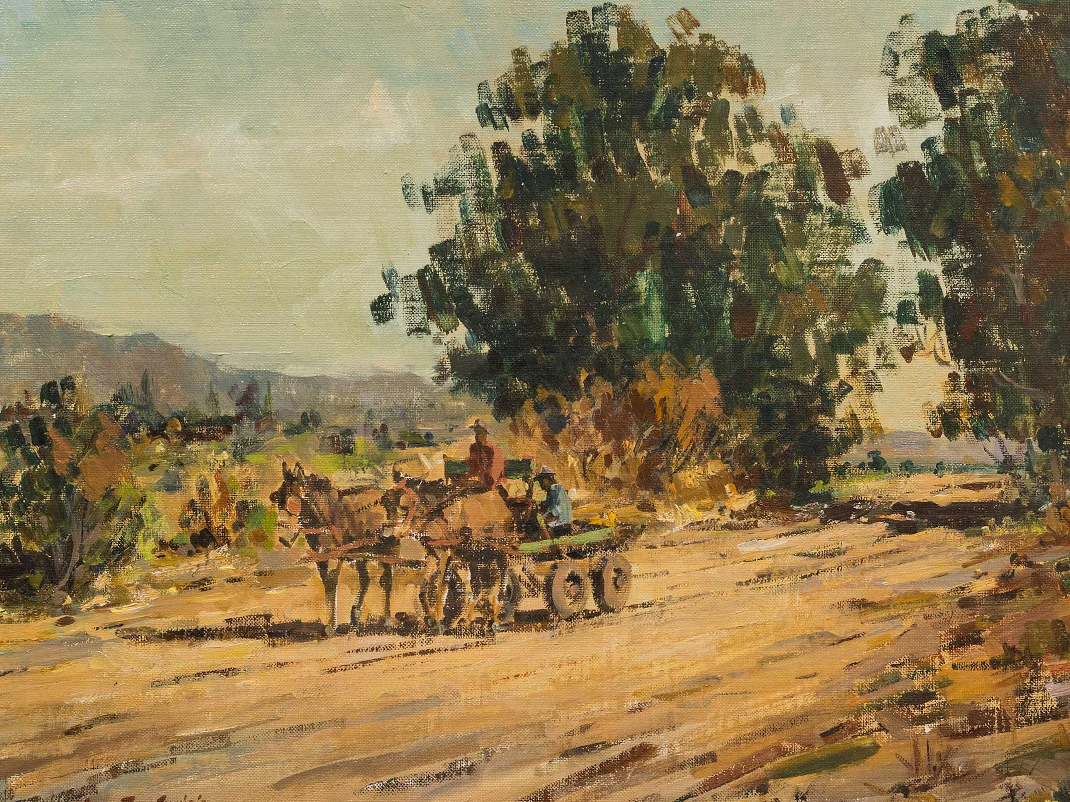 Gian Piero Garizio (SA, born 1931) Oil, Donkey Cart, Signed, 44 x 58