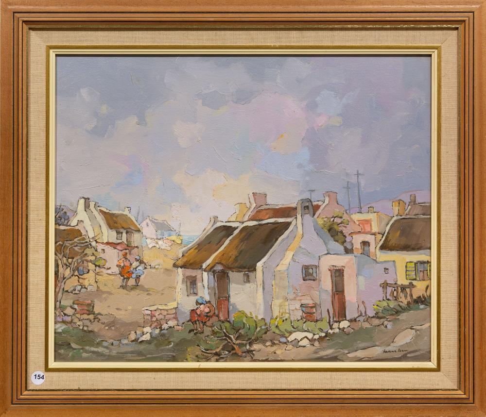 Kobus Louw (SA, born 1933) Oil ,Coastal Cottages, Signed, 45 x 55