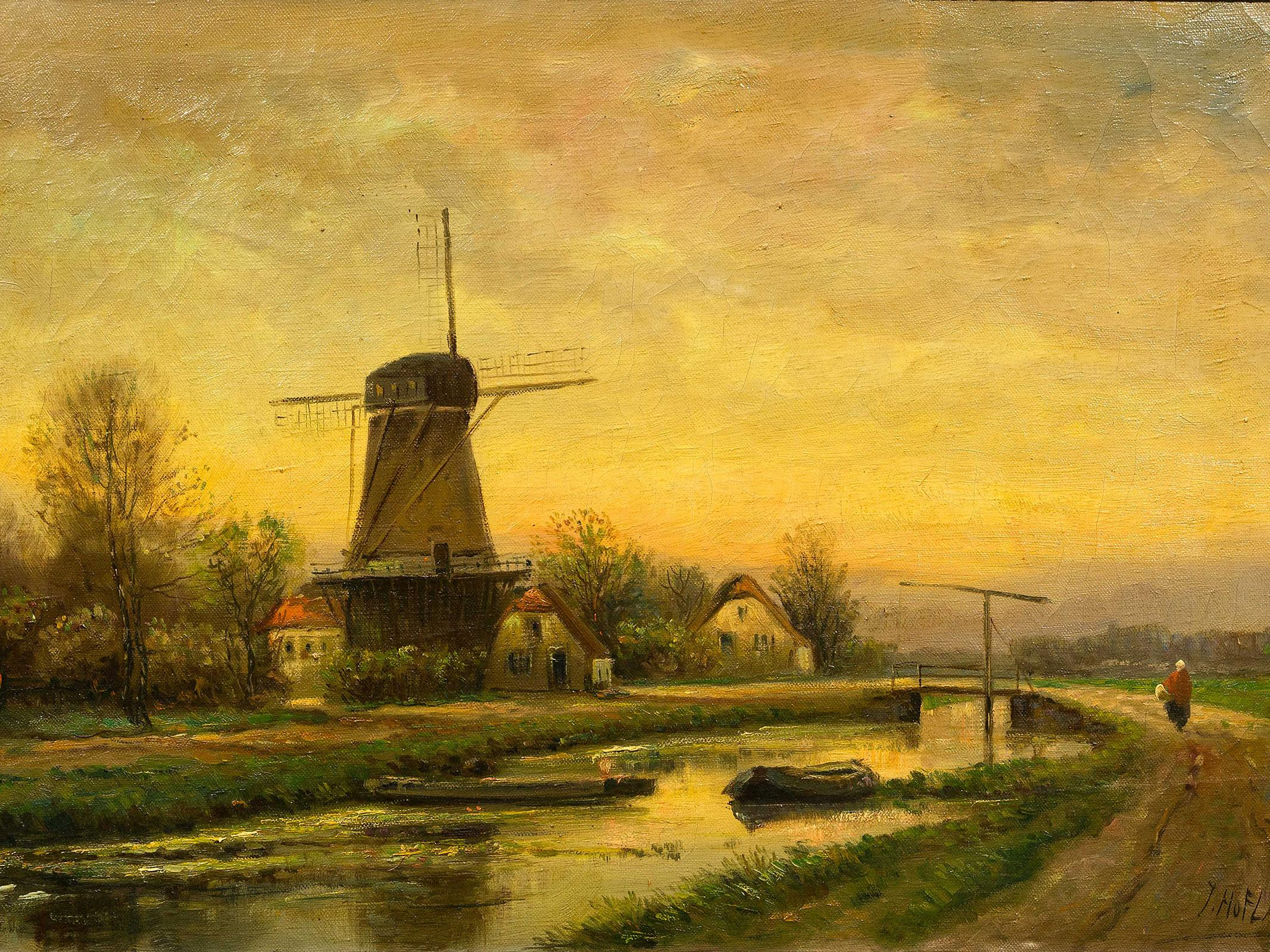 Thomas Hofland (Dutch 1777 - 1843) Oil, River Landscape with Figure & Windmill, Signed, 39 x 58