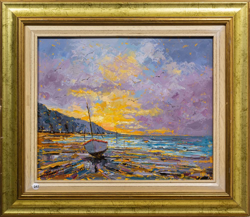 De Wet Matthee (SA, born 1979) Oil, Cape Sunset with Boat, Signed, 40 x 48