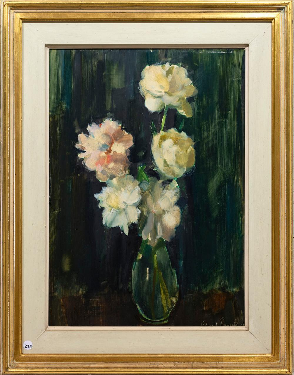 Clement Serneels (SA 1912 - 1991) Oil, Still Life White Roses, Signed & Dated '68, 60 x 42