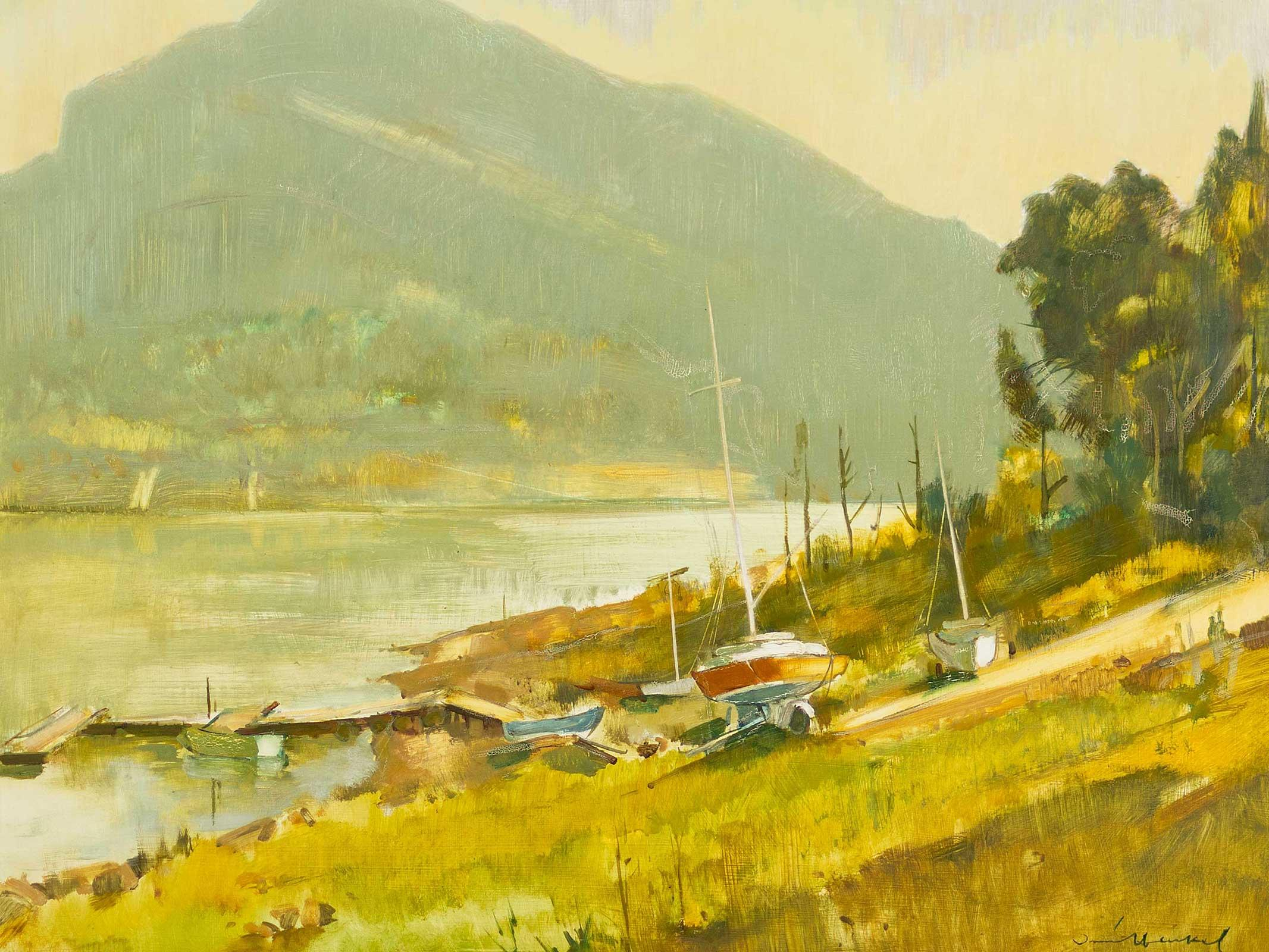 "Irmin Henkel (SA 1921 - 1977) Oil, ""Hartbeespoort Dam"", Signed, 80 x 95"