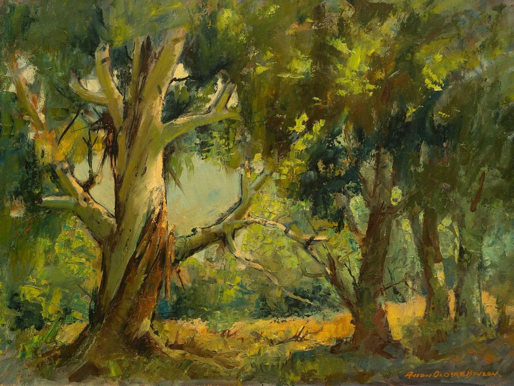 Anton Benzon (SA, born 1944) Oil, Forest Scene, Signed, 45 x 65