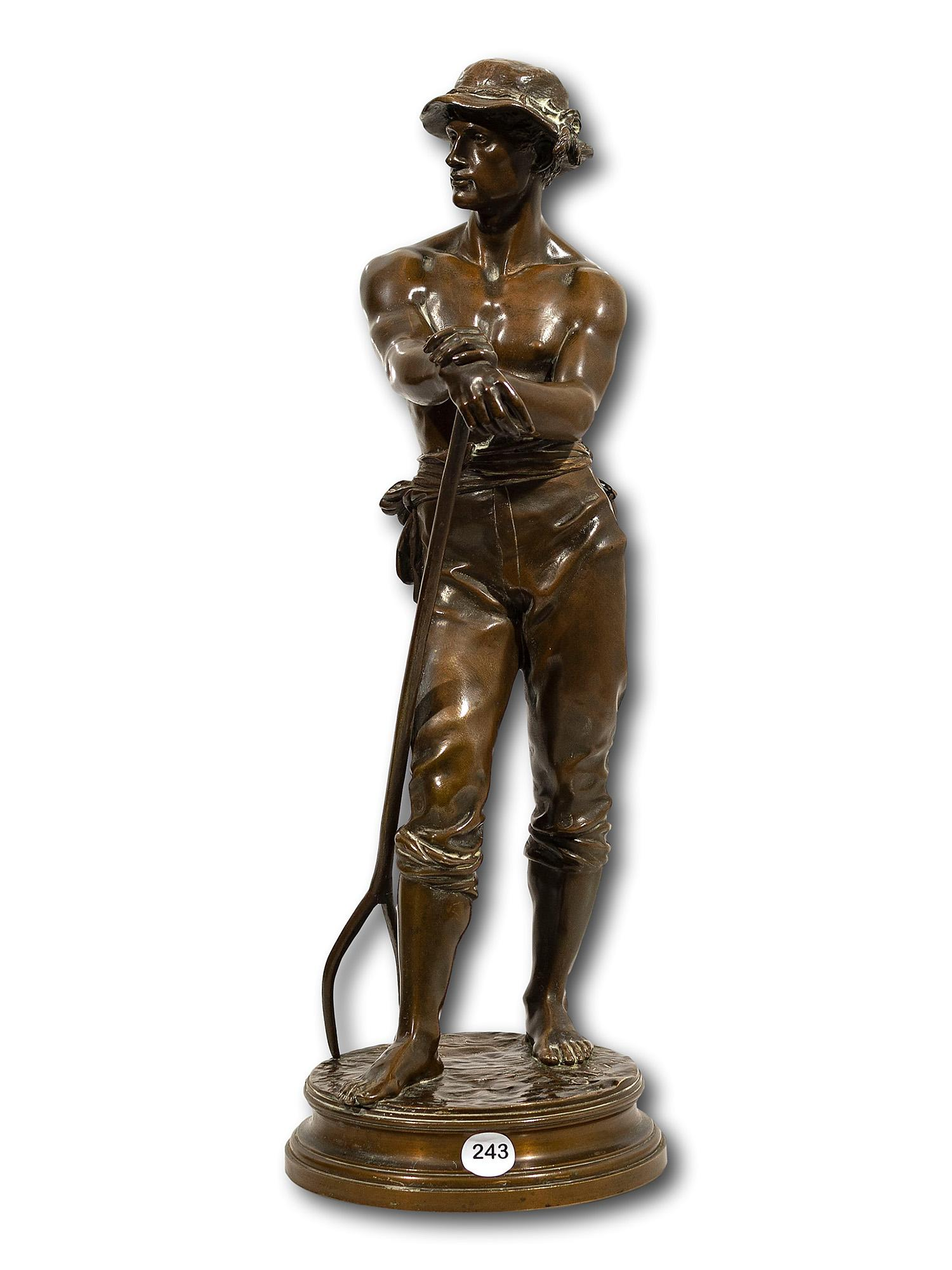 "After Charles Octave Levy (French 1820 - 1899) Bronze, Farm Worker with Flask & Pitchfork, Signed & Stamped ""Bronze Garanti au Titre/L.V Deposee"", 43cm including base"