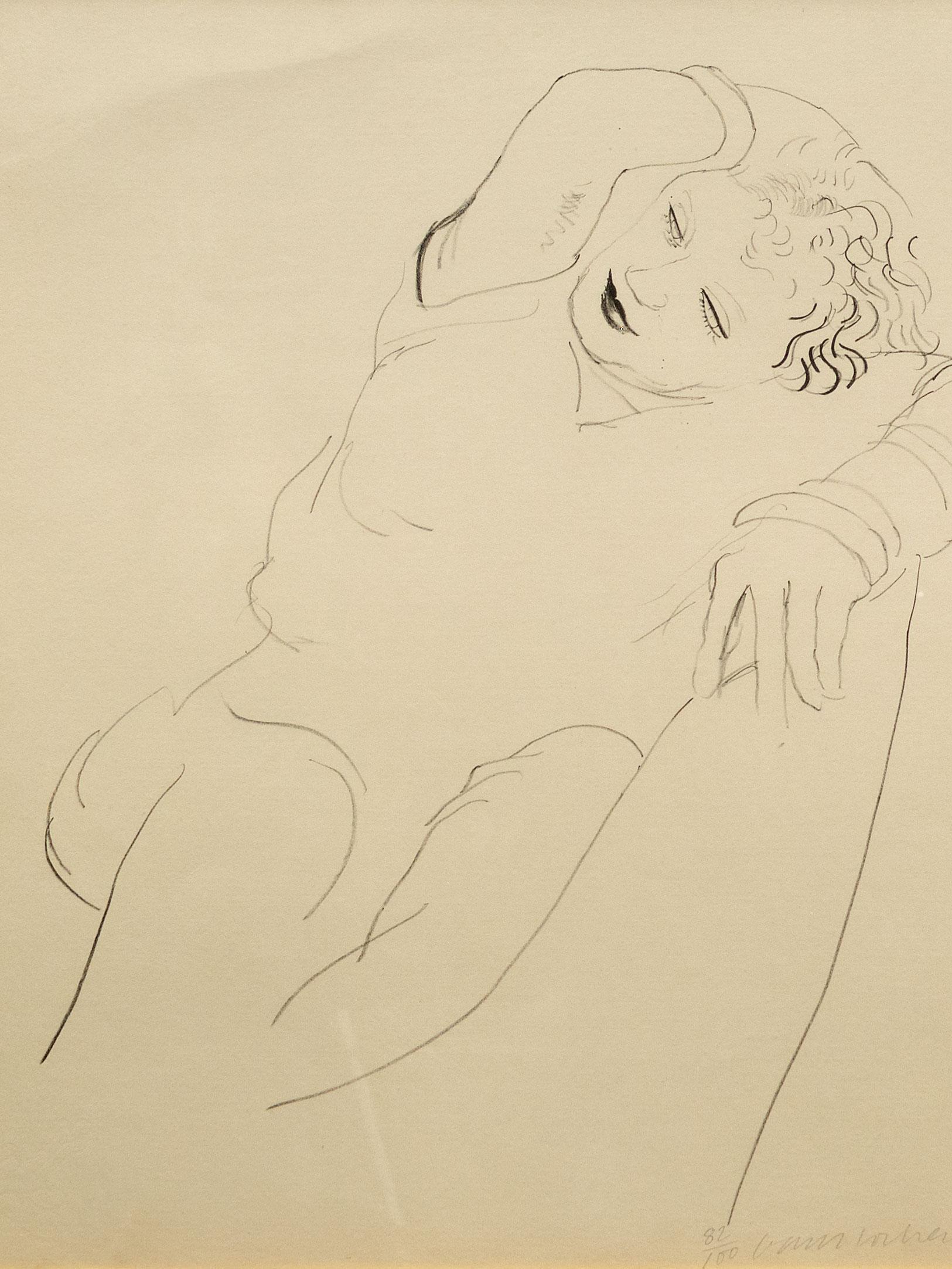 "David Hockney OM CH RA (English, born 1937) Lithograph, ""Celia Reclining"", Signed, 55 x 48 sheet size"